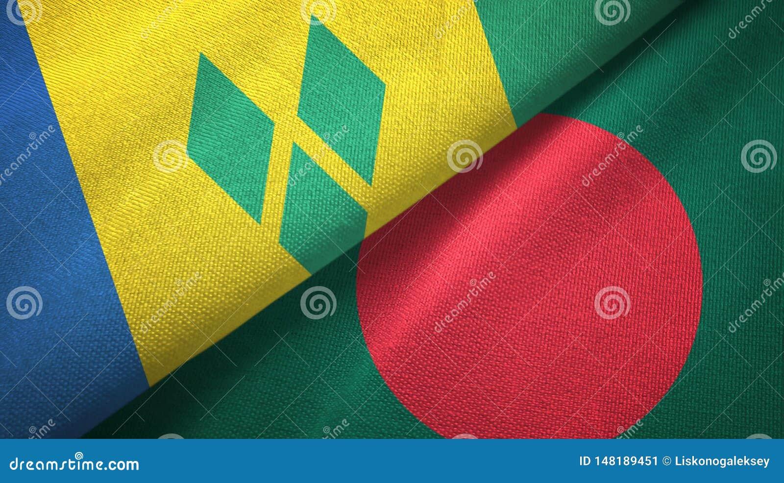 Άγιος Βικέντιος και Γρεναδίνες και Μπανγκλαντές δύο σημαίες