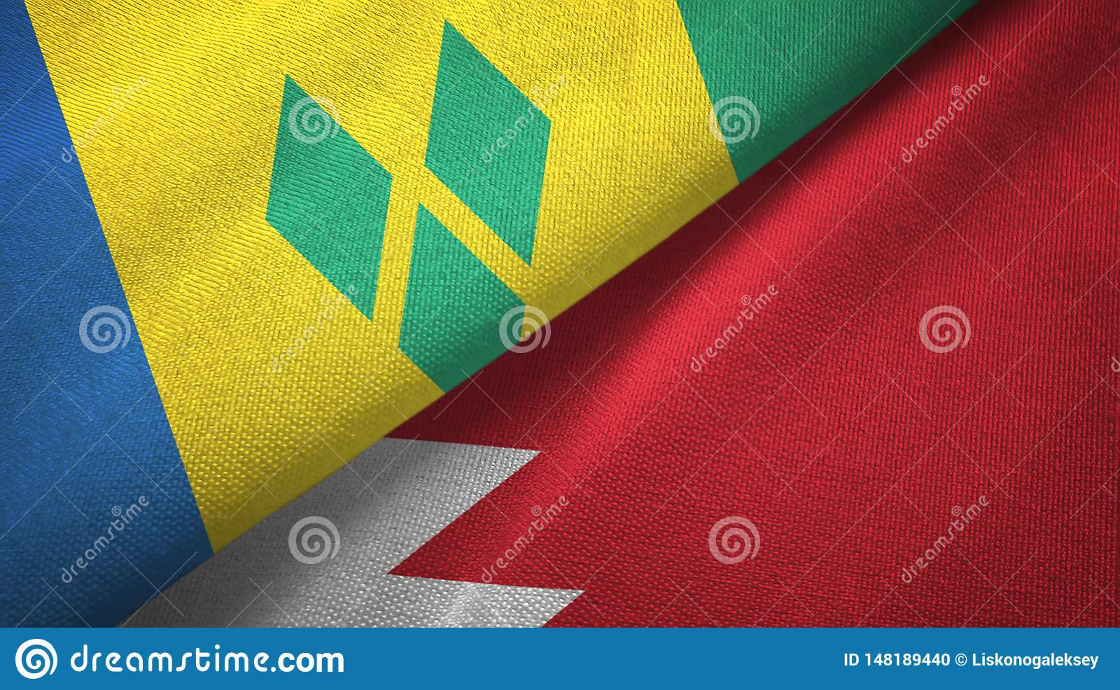 Άγιος Βικέντιος και Γρεναδίνες και Μπαχρέιν δύο σημαίες