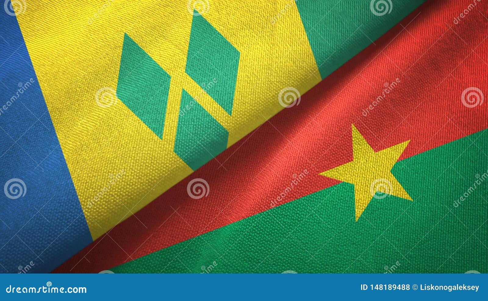 Άγιος Βικέντιος και Γρεναδίνες και Μπουρκίνα Φάσο δύο σημαίες