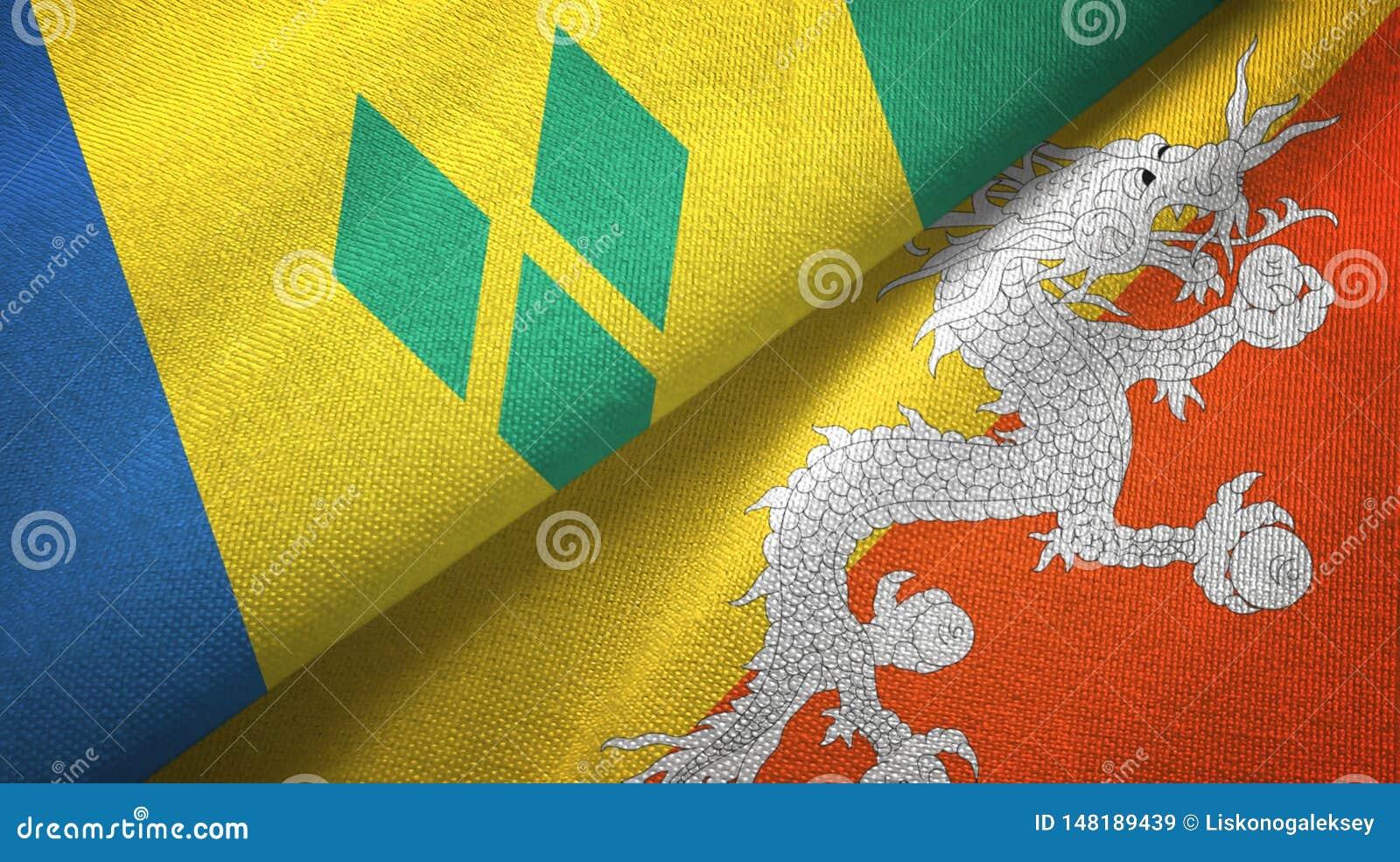 Άγιος Βικέντιος και Γρεναδίνες και Μπουτάν δύο σημαίες