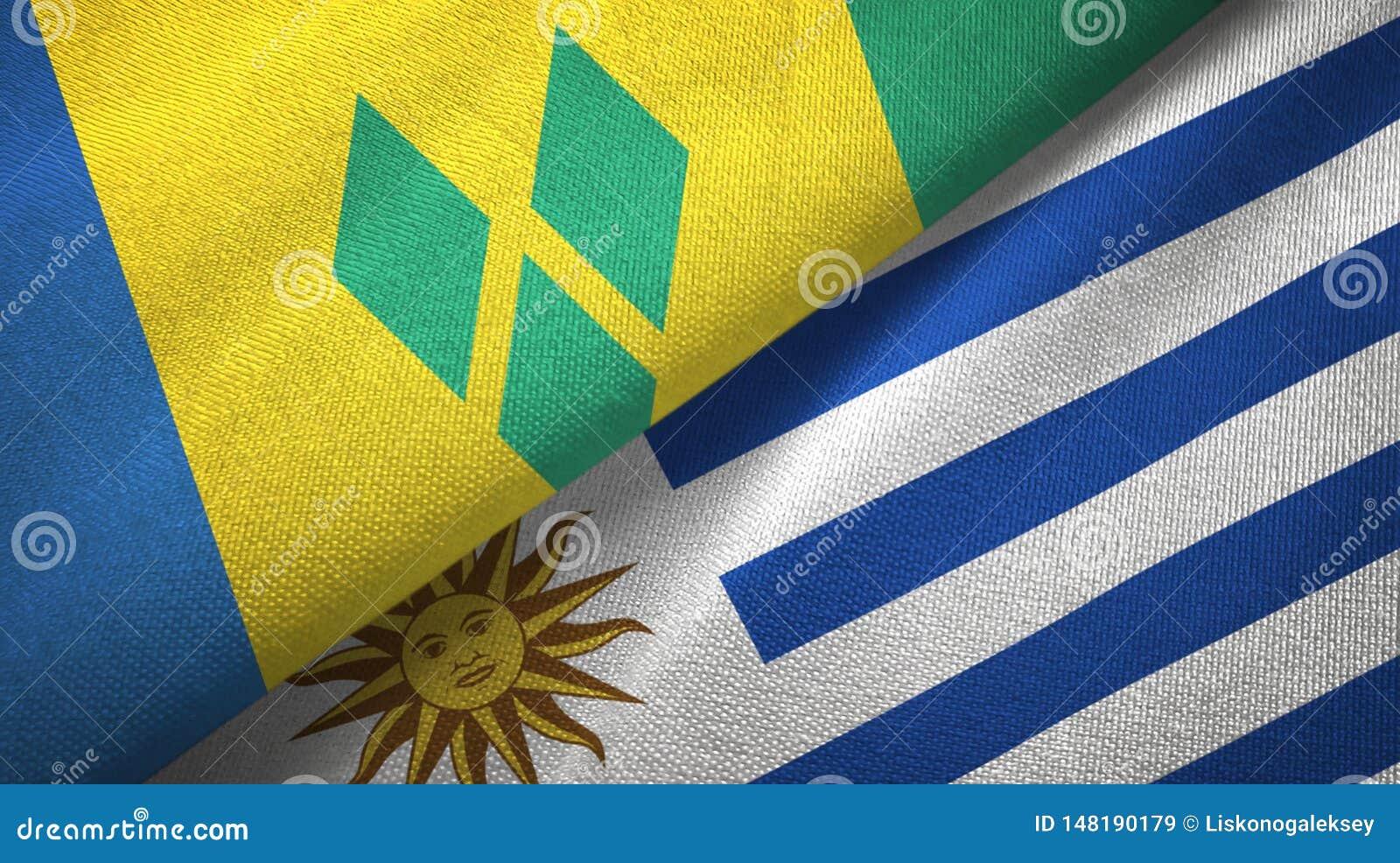 Άγιος Βικέντιος και Γρεναδίνες και Ουρουγουάη δύο σημαίες