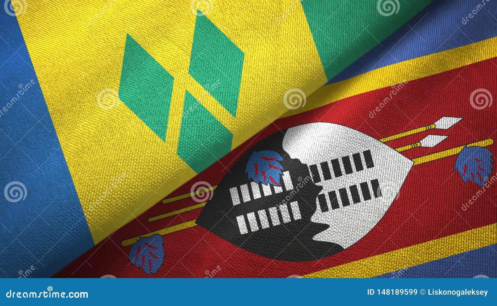 Άγιος Βικέντιος και Γρεναδίνες και Eswatini Σουαζιλάνδη δύο σημαίες