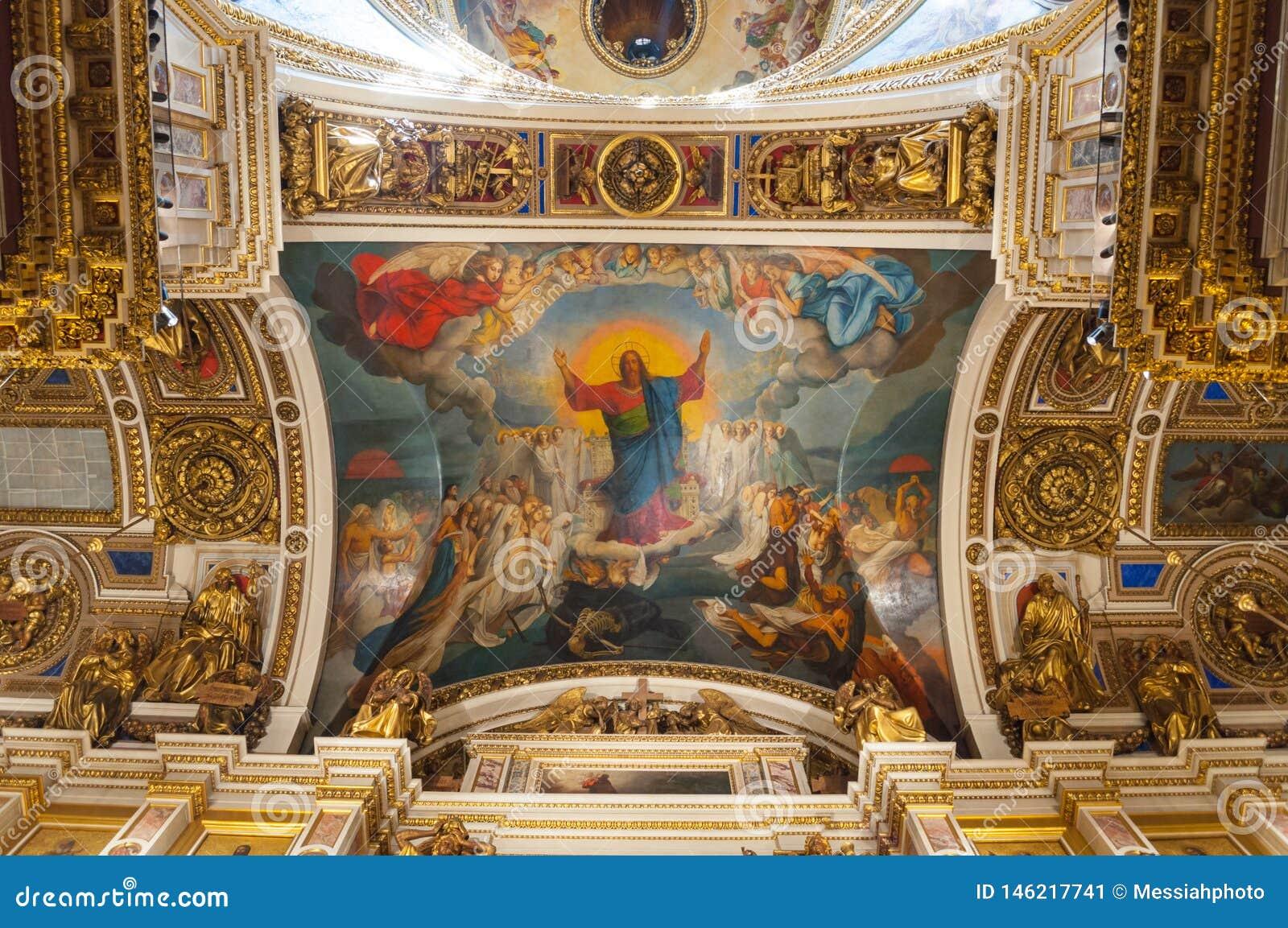 Άγιος Πετρούπολη, Ρωσία Ιδιαίτερα το ανώτατο όριο κοντά στον κεντρικό θόλο του ST Isaac Cathedral