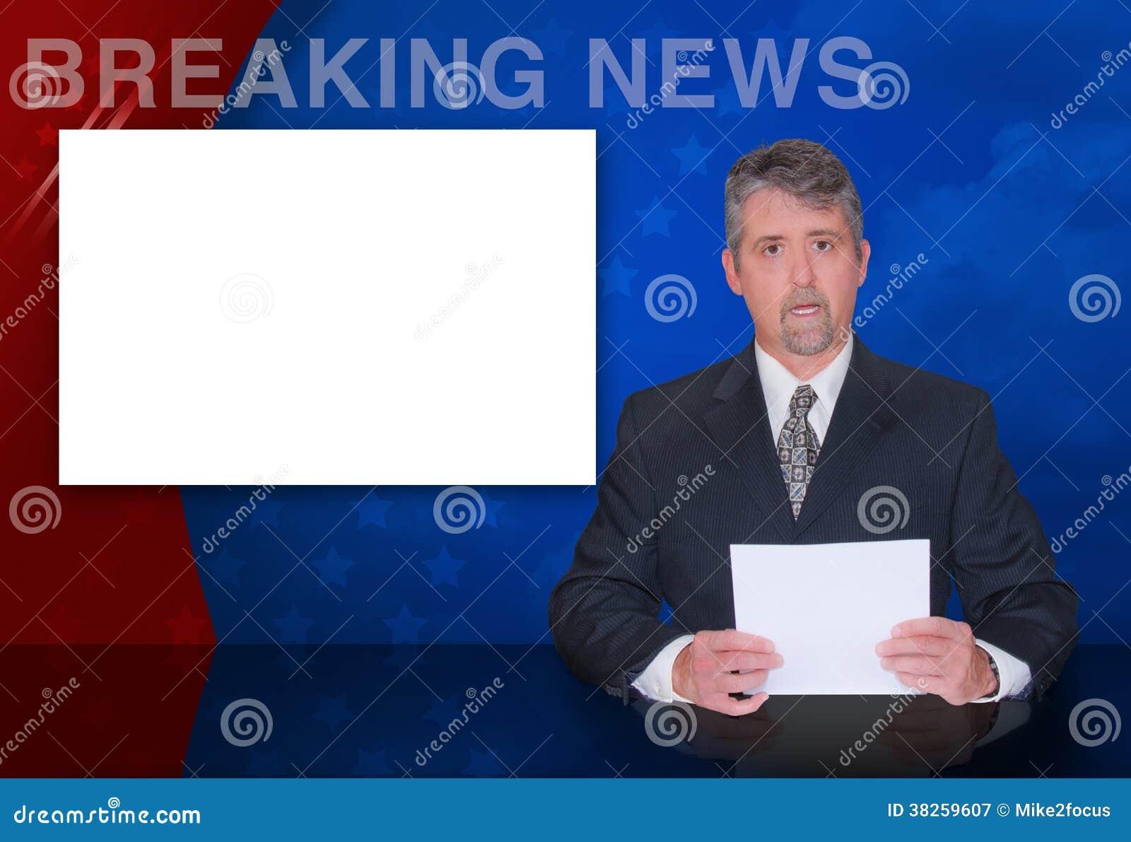 Άγκυρα ειδήσεων που εκθέτει την κενή οθόνη ΈΚΤΑΚΤΩΝ ΓΕΓΟΝΌΤΩΝ