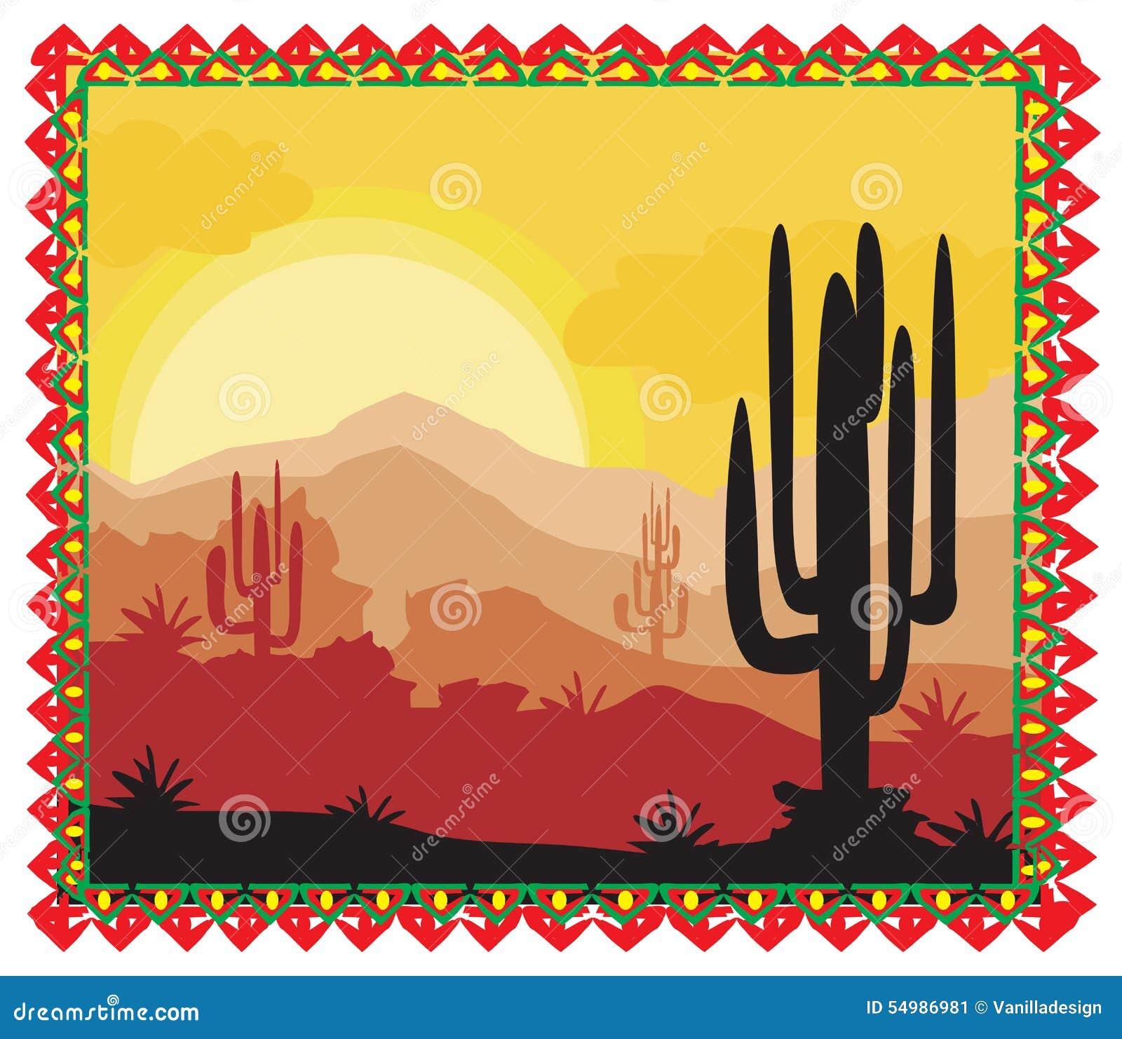 Άγριο τοπίο φύσης ερήμων με τον κάκτο