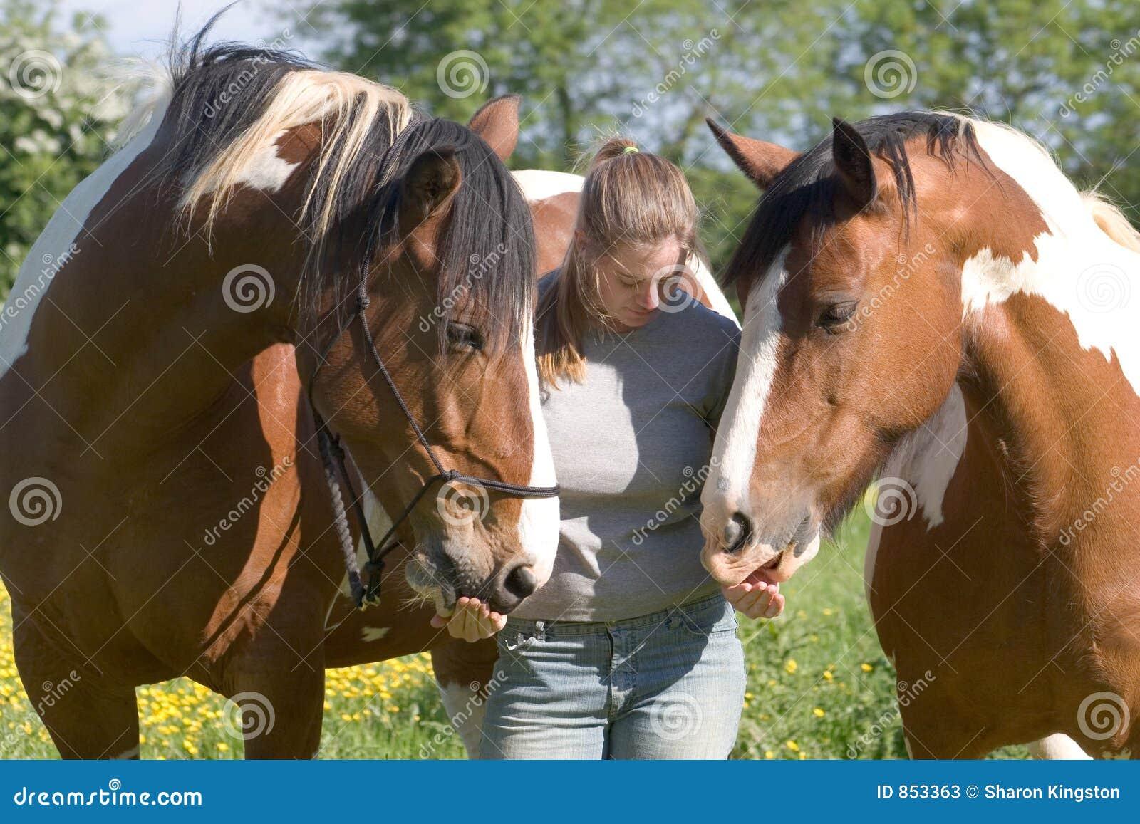 άλογα δύο κοριτσιών