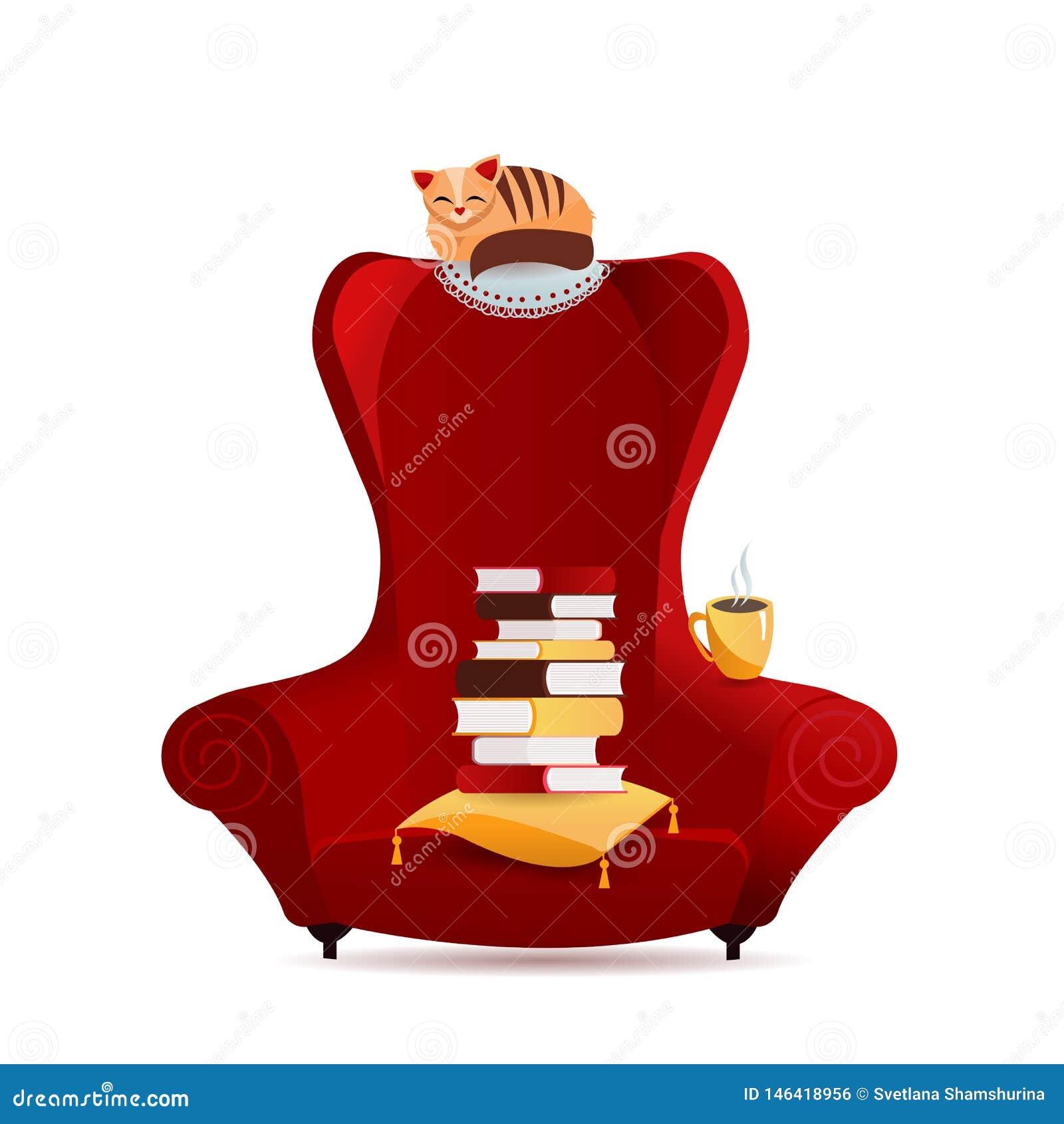 Άνετη εκλεκτής ποιότητας πολυθρόνα με το σωρό των βιβλίων, χαρακτήρας γατών που βρίσκεται στην καρέκλα οπίσθιων στηριγμάτων, τσάι