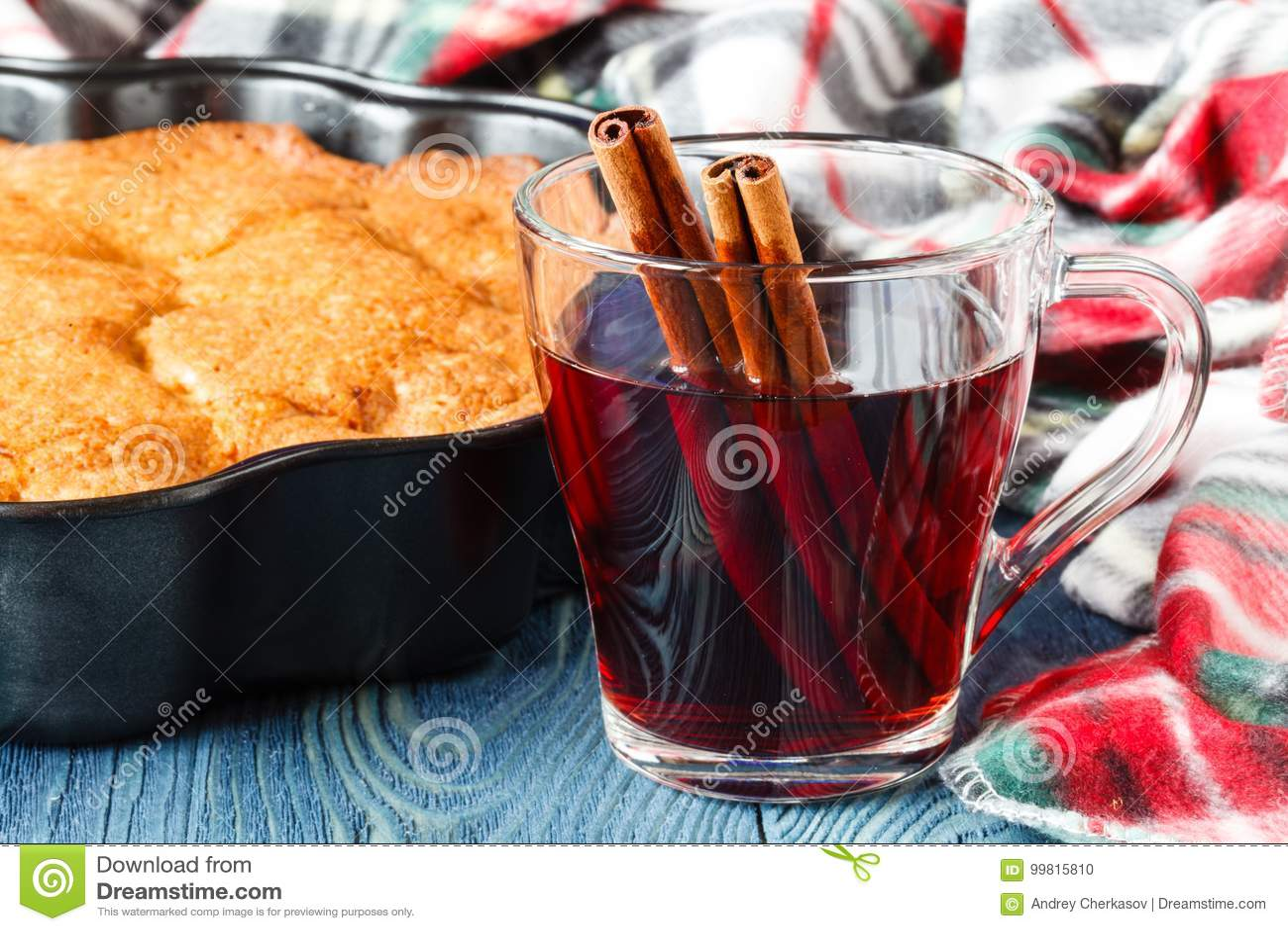 Άνετο καρό στην ημέρα πτώσης με το καυτό οινοπνευματώδες θερμαμένο ποτό κρασί