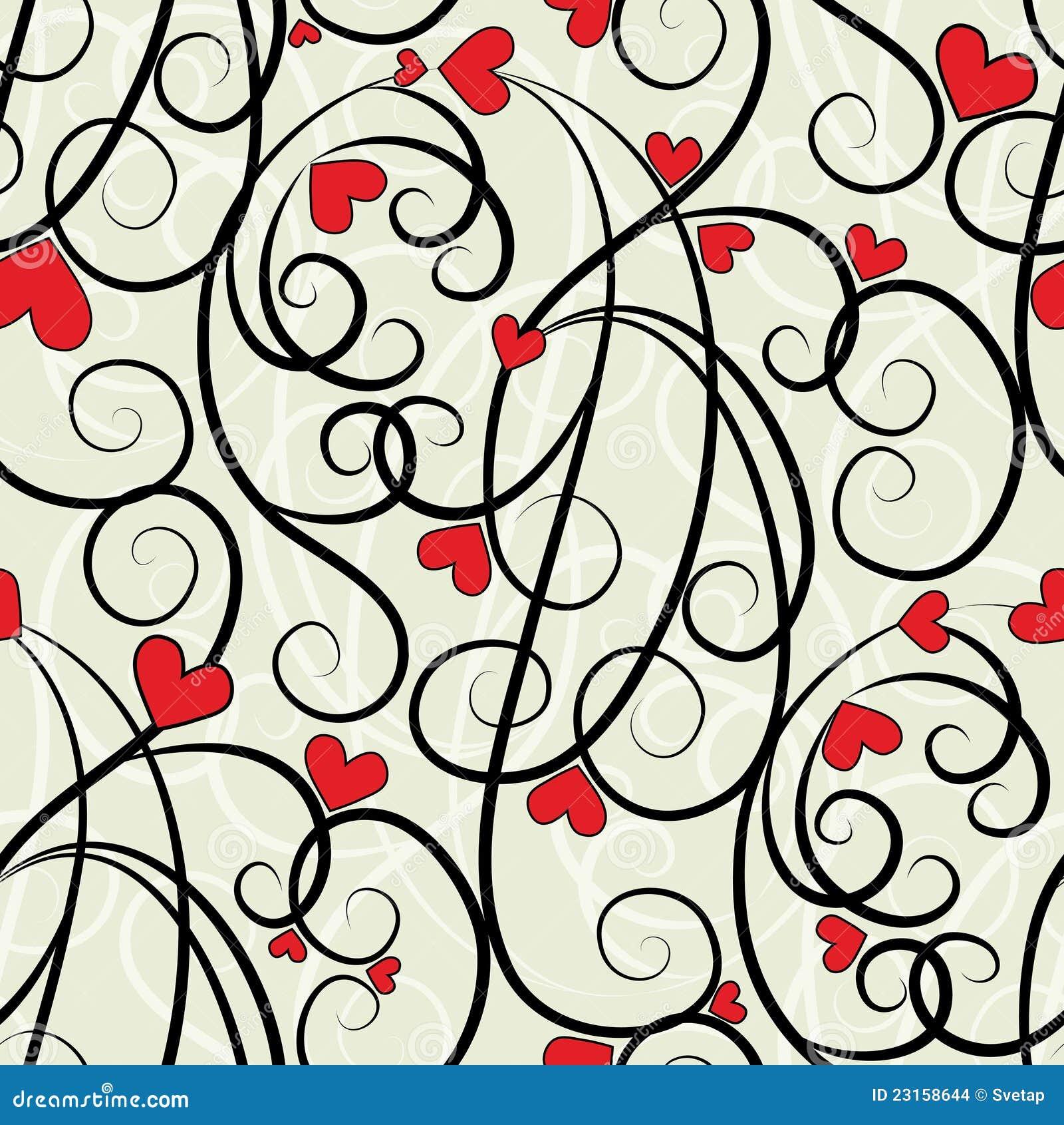 Άνευ ραφής ανασκόπηση καρδιών κυμάτων floral
