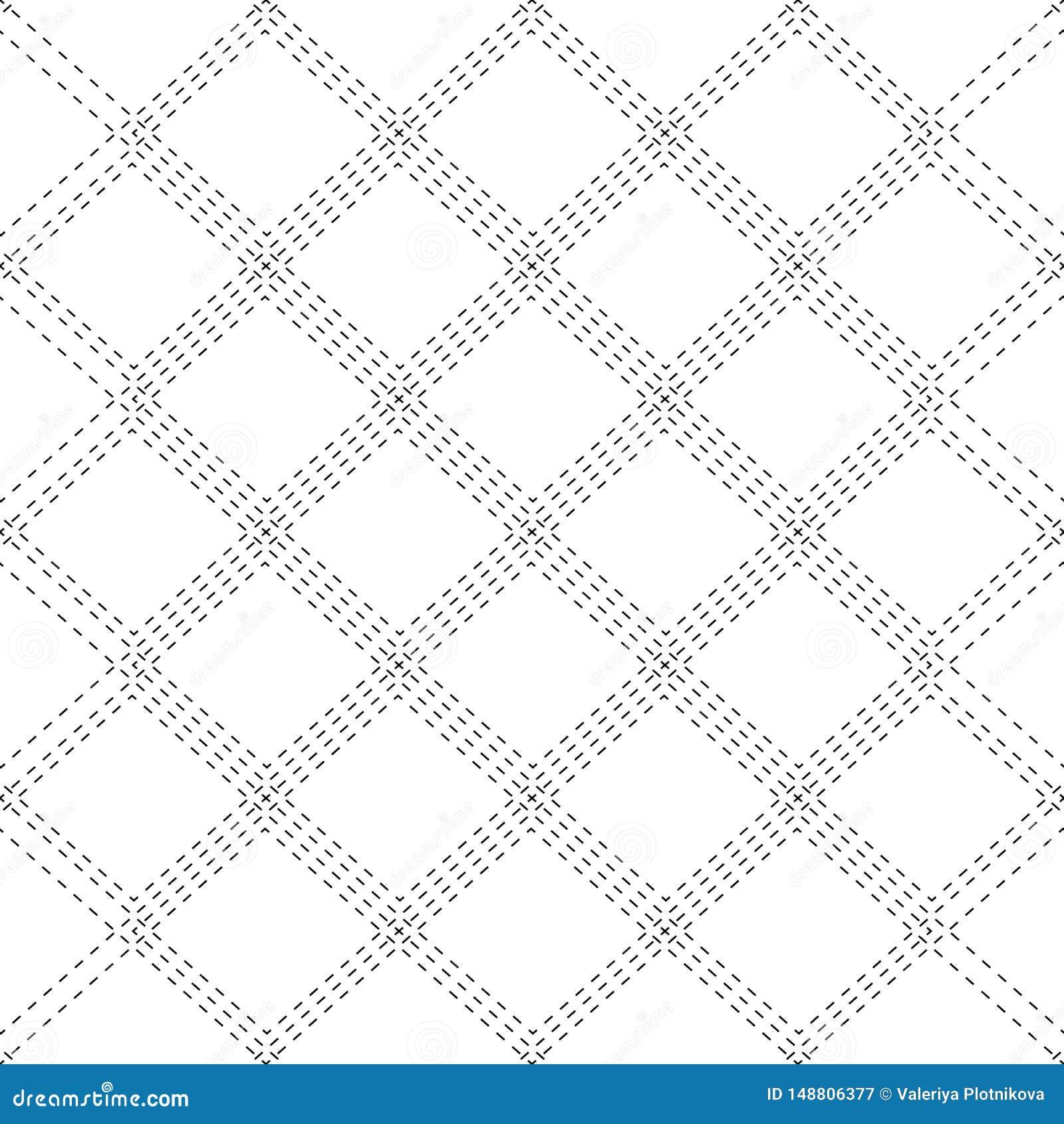 Άνευ ραφής γραπτό σχέδιο με τις βελονιές περιγράμματος των rhombuses Η σύσταση του υφάσματος και του καρό