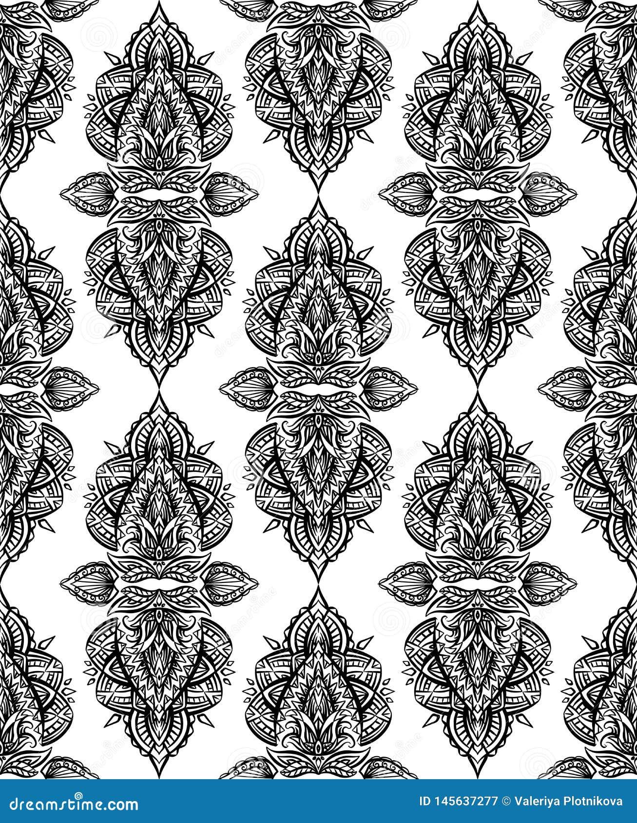 Άνευ ραφής γραπτό σχέδιο του Paisley με τις διακοσμήσεις boho στη σειρά Φυλετικό υπόβαθρο