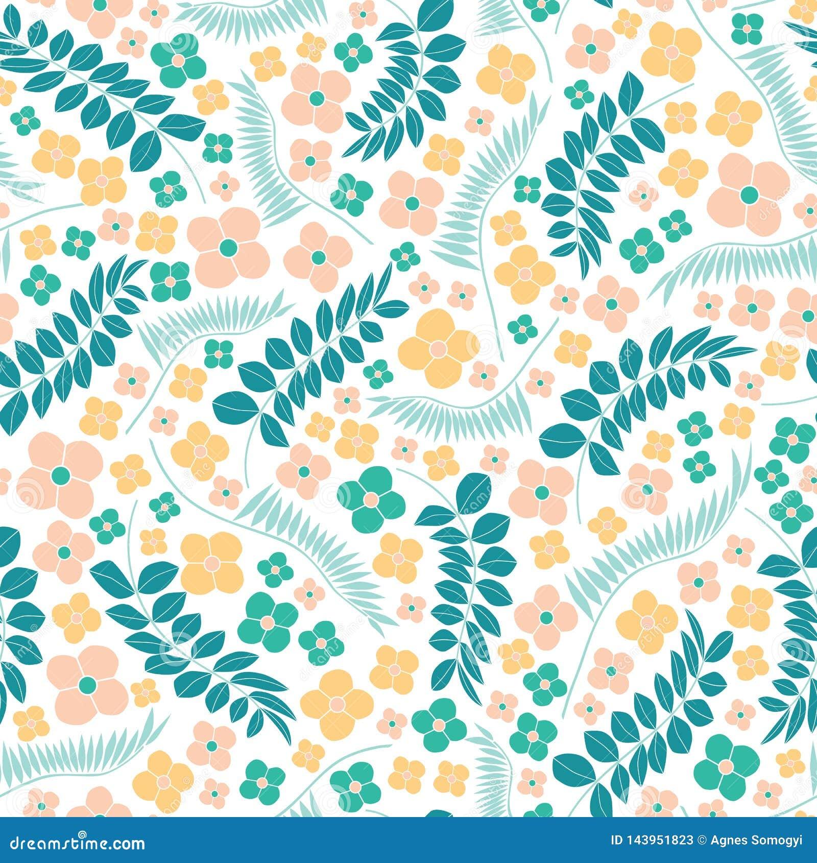Άνευ ραφής διανυσματικό σχέδιο κεντητικής με τα λουλούδια και τα τροπικά φύλλα Φωτεινή διανυσματική λαϊκή floral διακόσμηση στο ά