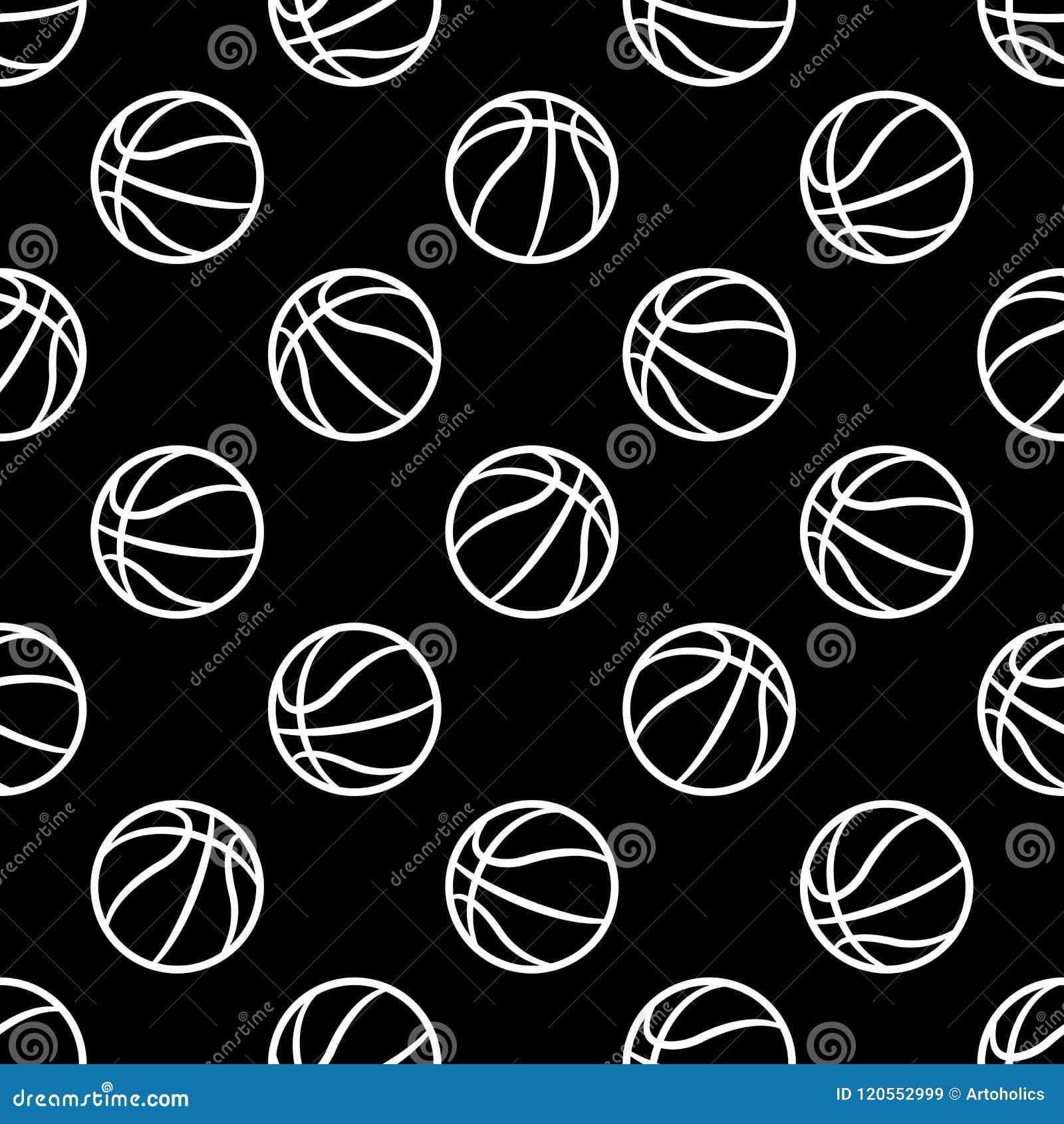 Άνευ ραφής διανυσματικό σχέδιο με τις σφαίρες καλαθοσφαίρισης