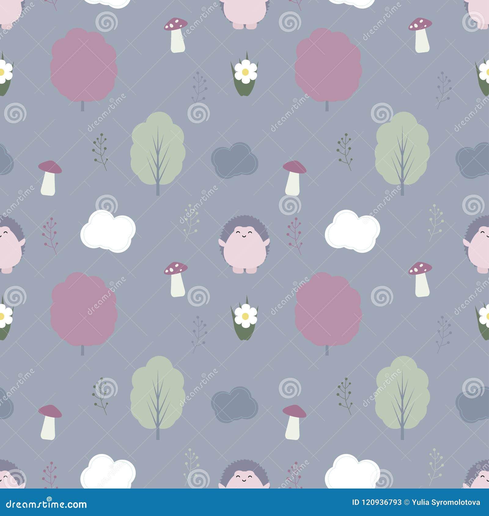 Άνευ ραφής διανυσματικό σχέδιο με το χαριτωμένο σκαντζόχοιρο kawaii, δέντρα και mus