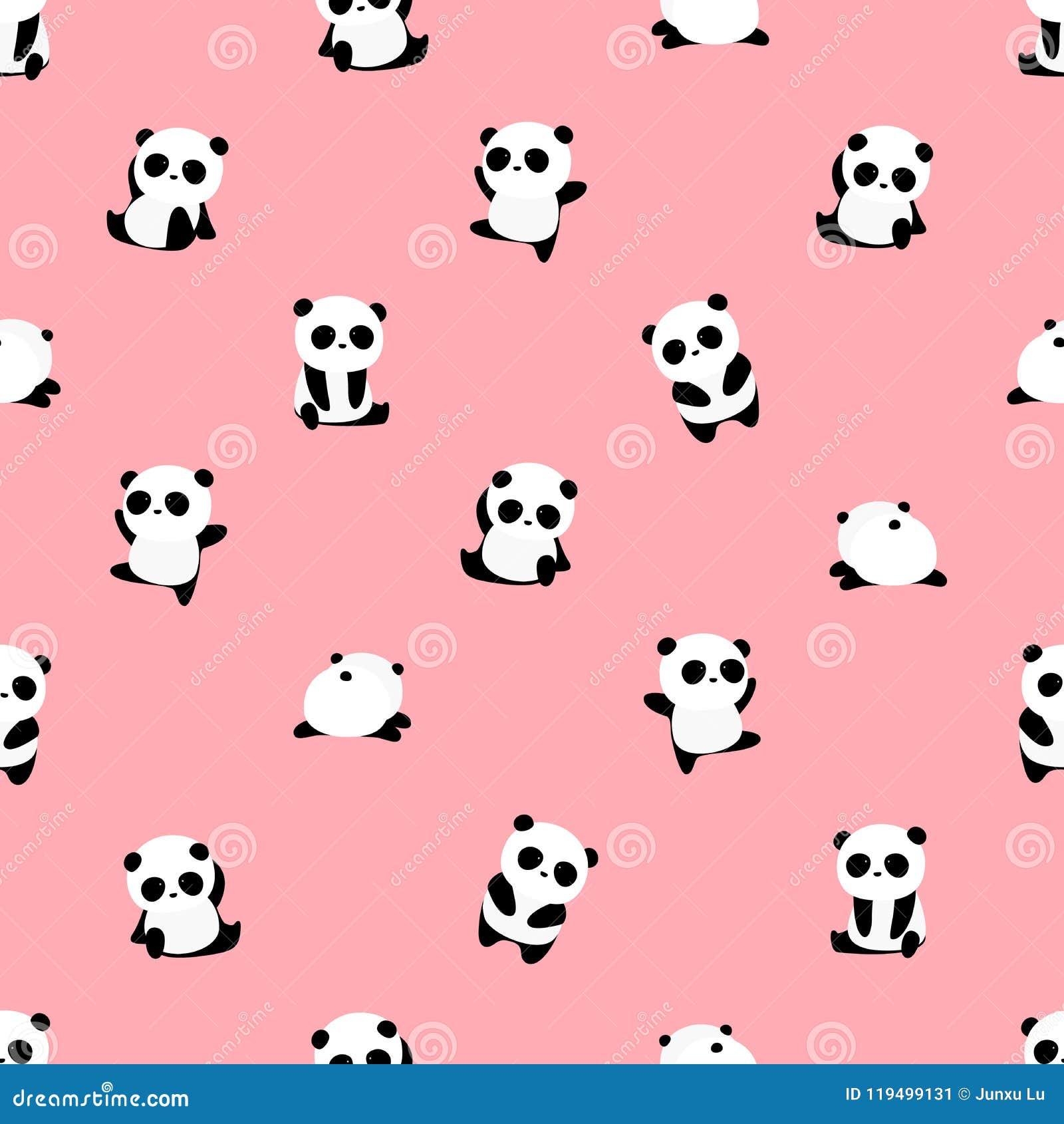 Άνευ ραφής διανυσματικό σχέδιο: το panda αφορά το σχέδιο το ανοικτό ροζ υπόβαθρο