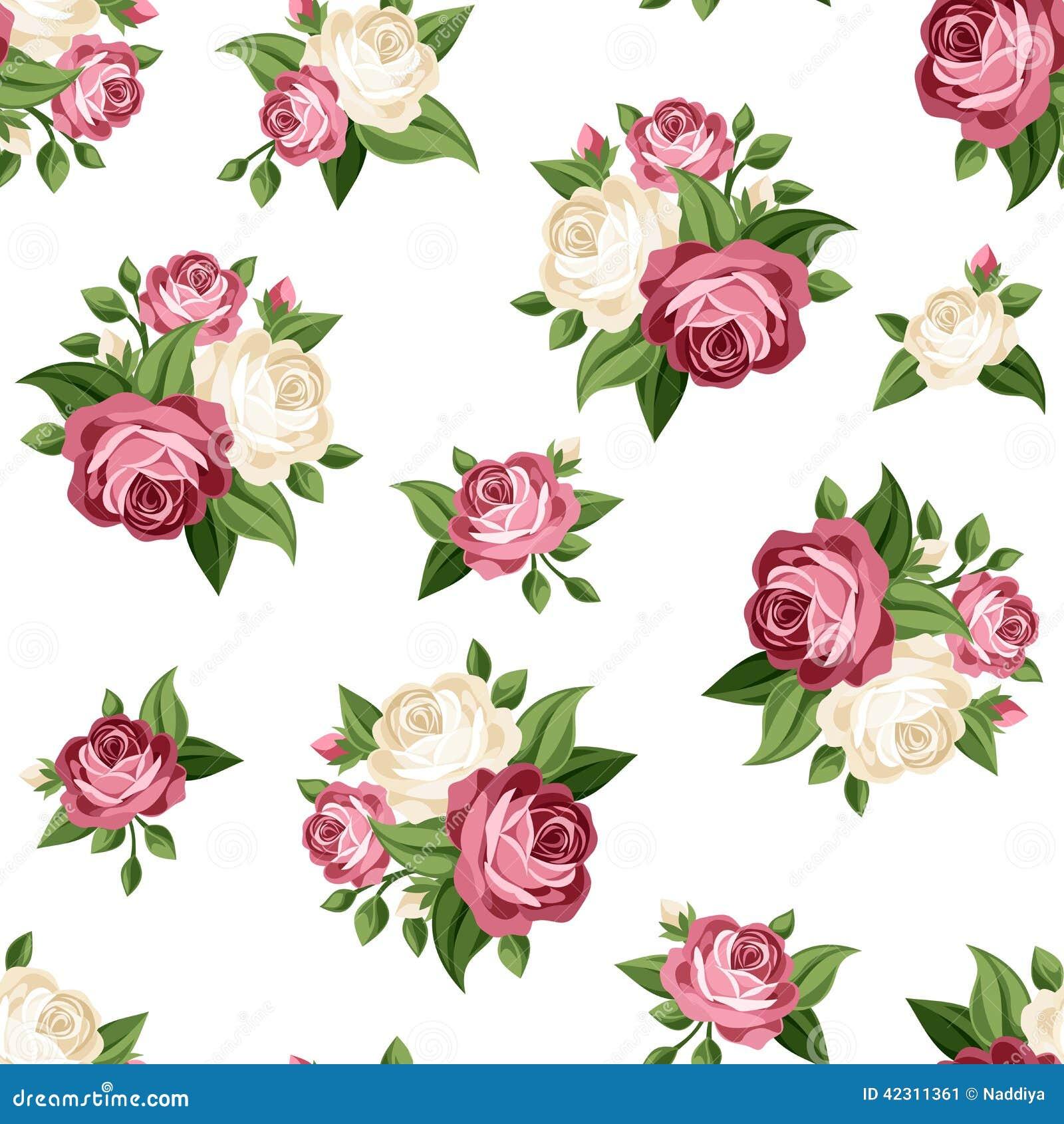 Άνευ ραφής εκλεκτής ποιότητας σχέδιο με τα ρόδινα και άσπρα τριαντάφυλλα επίσης corel σύρετε το διάνυσμα απεικόνισης
