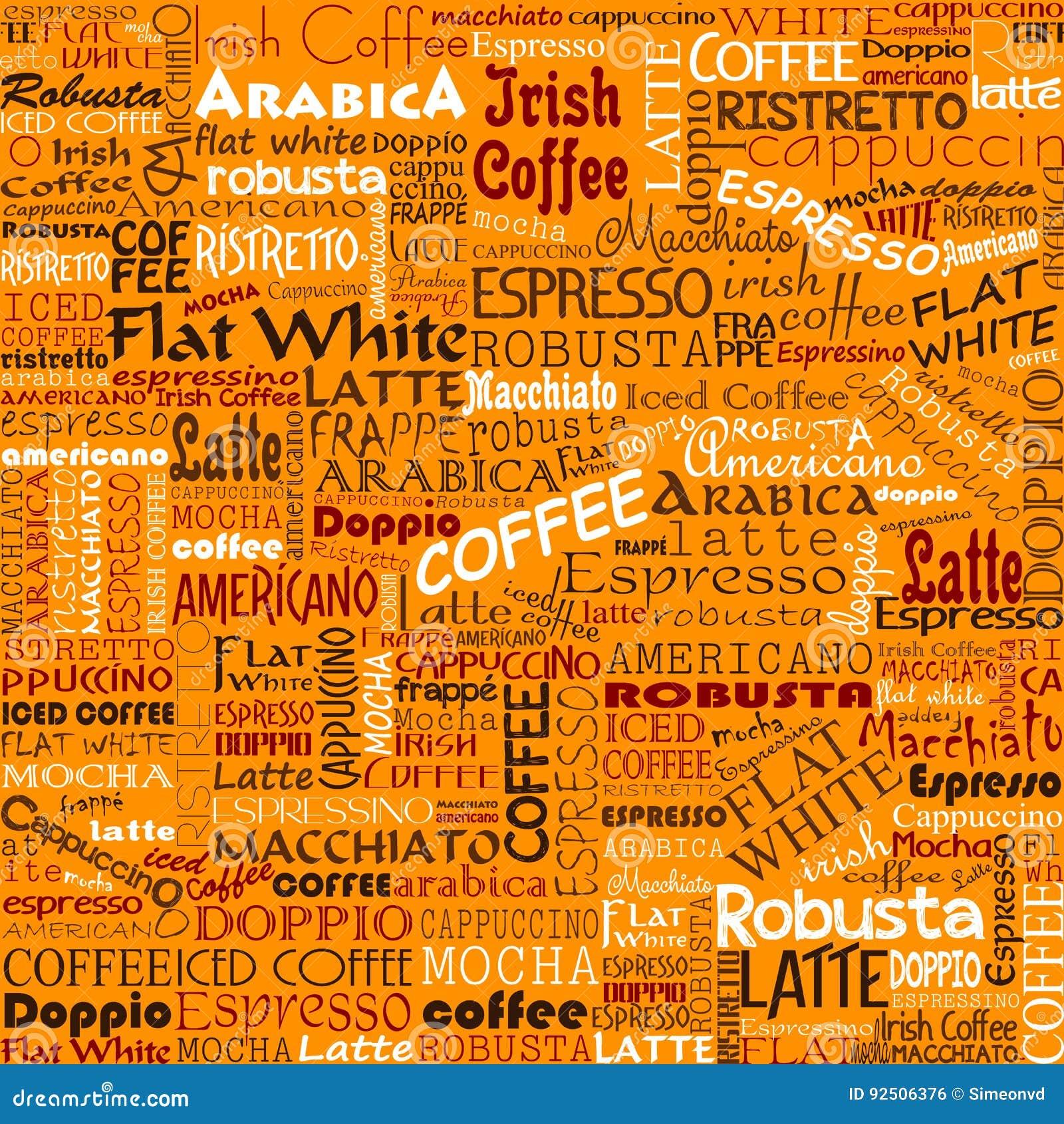 Άνευ ραφής ετικέττες υποβάθρου λέξεων καφέ
