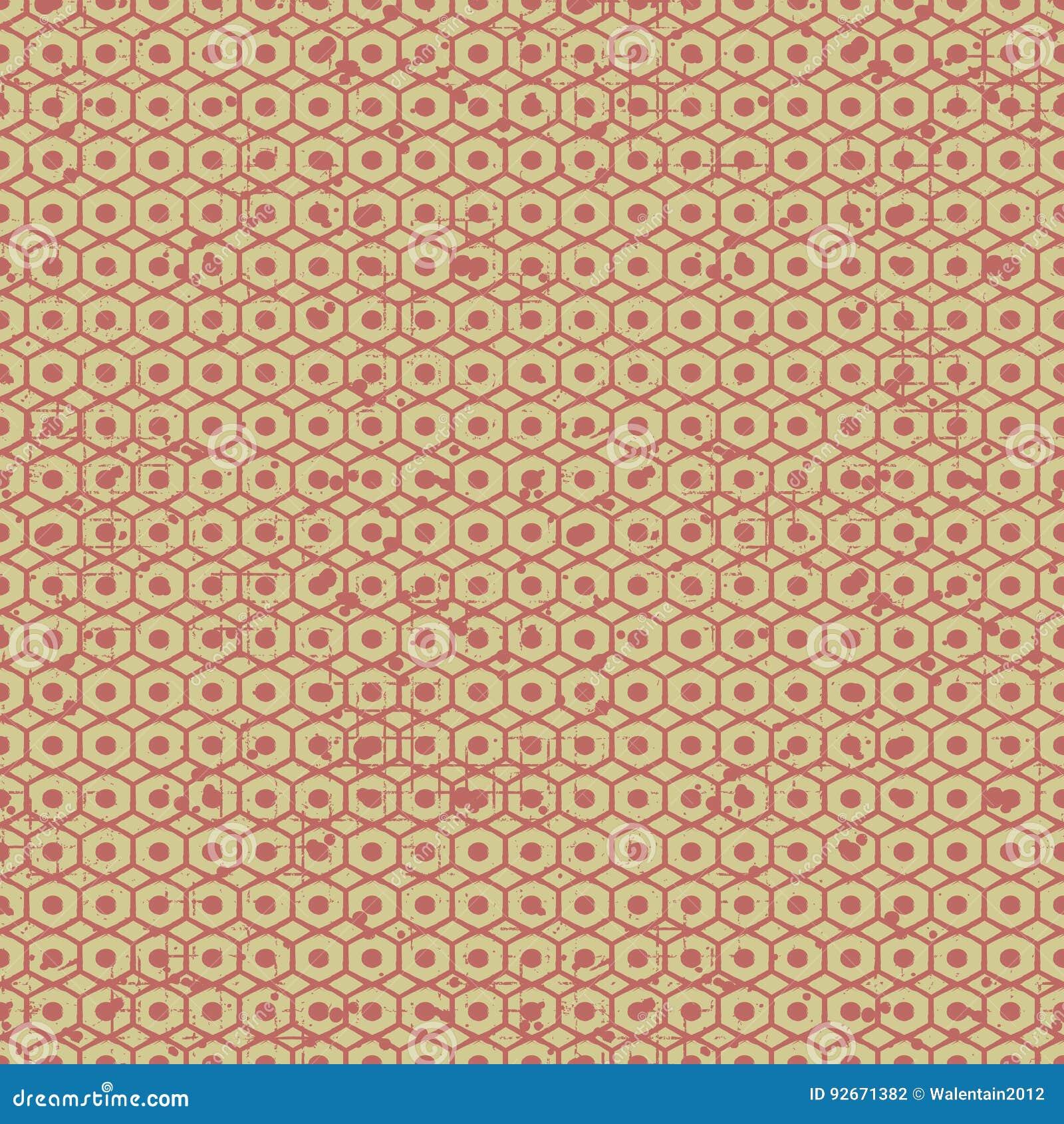 Άνευ ραφής διανυσματικό πρότυπο grunge Δημιουργικό γεωμετρικό υπόβαθρο με το καρύδι βιδών Σύσταση Grunge με την τριβή, ρωγμές και