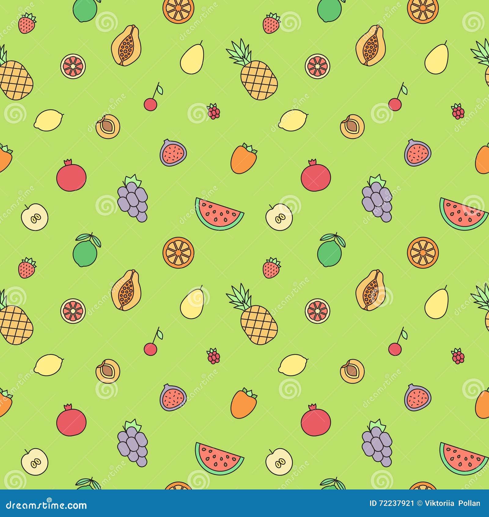 Άνευ ραφής διανυσματικό σχέδιο περιλήψεων φρούτων πολύχρωμο σύγχρονο minimalistic σχέδιο