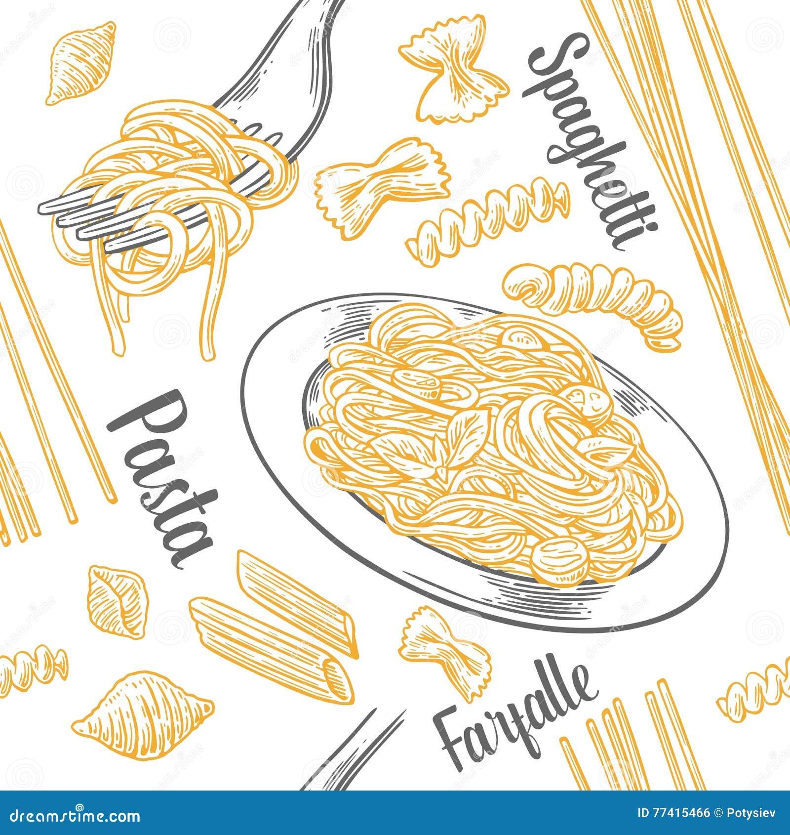 Άνευ ραφής καθορισμένα ζυμαρικά σχεδίων με τον τίτλο Farfalle, conchiglie, penne, fusilli και μακαρόνια στο δίκρανο