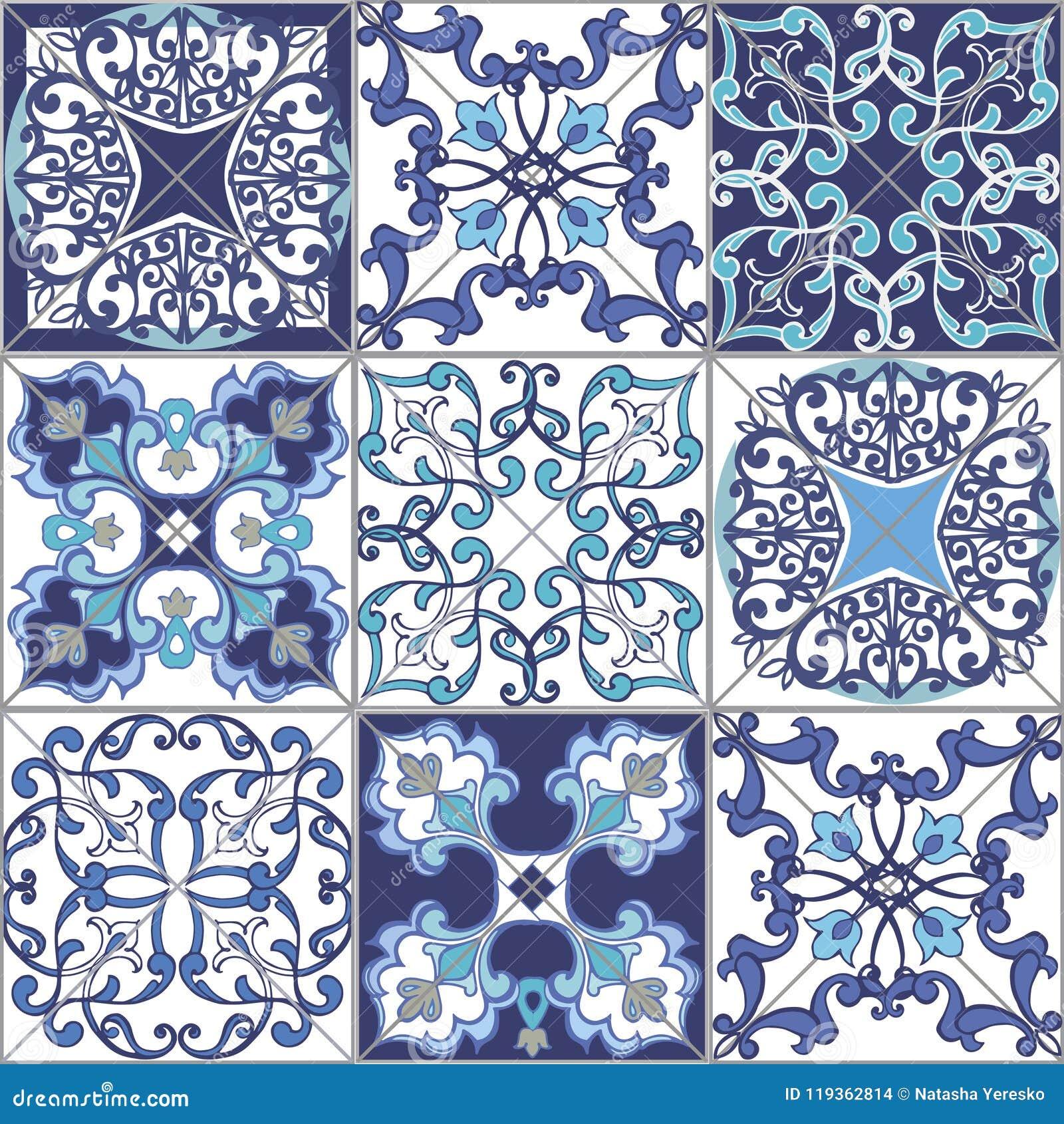 Άνευ ραφής κεραμίδια σχεδίων προσθηκών συλλογής από το Μαρόκο, Πορτογαλία στα μπλε χρώματα