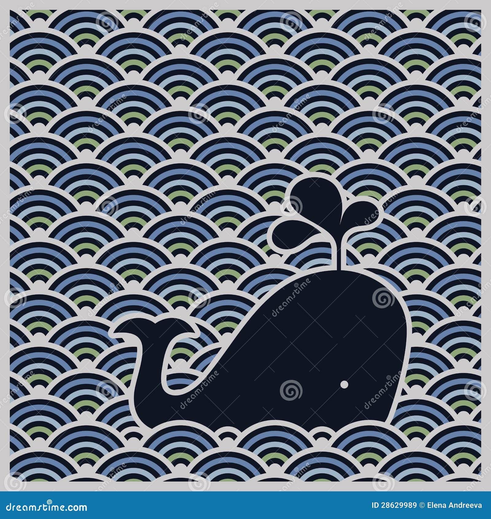 Άνευ ραφής κυματιστό πρότυπο με την μπλε φάλαινα - διάνυσμα