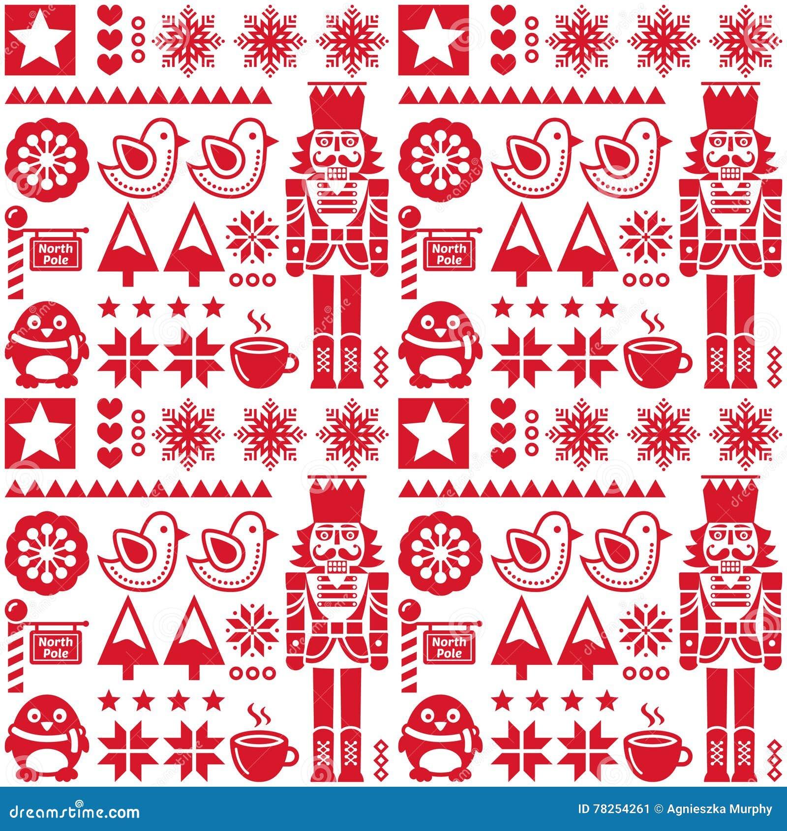 Άνευ ραφής κόκκινο σχέδιο Χριστουγέννων με τον καρυοθραύστης - λαϊκό ύφος τέχνης