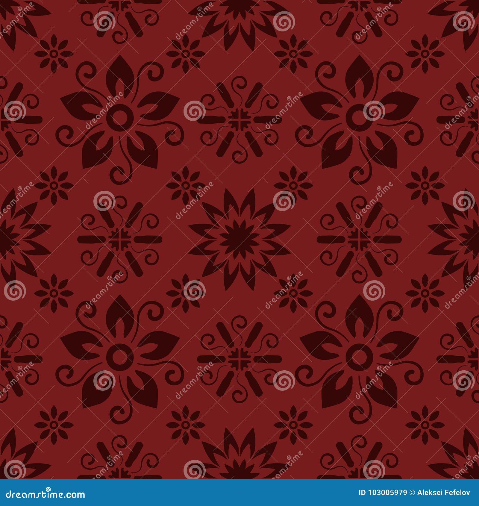 Άνευ ραφής κόκκινο floral σχέδιο, διάνυσμα Η ατελείωτη σύσταση μπορεί να χρησιμοποιηθεί για την ταπετσαρία, το σχέδιο γεμίζει, υπ