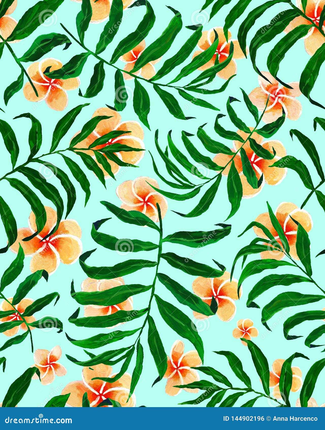 Άνευ ραφής λουλούδια σχεδίων και plumeria φύλλων φοινικών