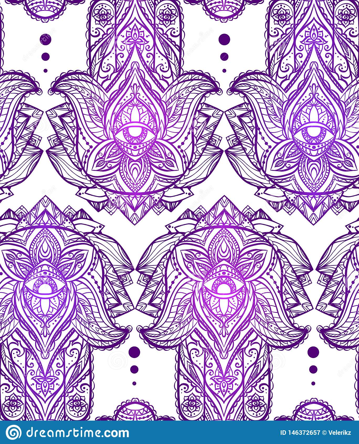 Άνευ ραφής μαγικό σχέδιο με το χέρι του Βούδα Πνευματικό Hamsa με το φυλετικό σχέδιο στο άσπρο υπόβαθρο o