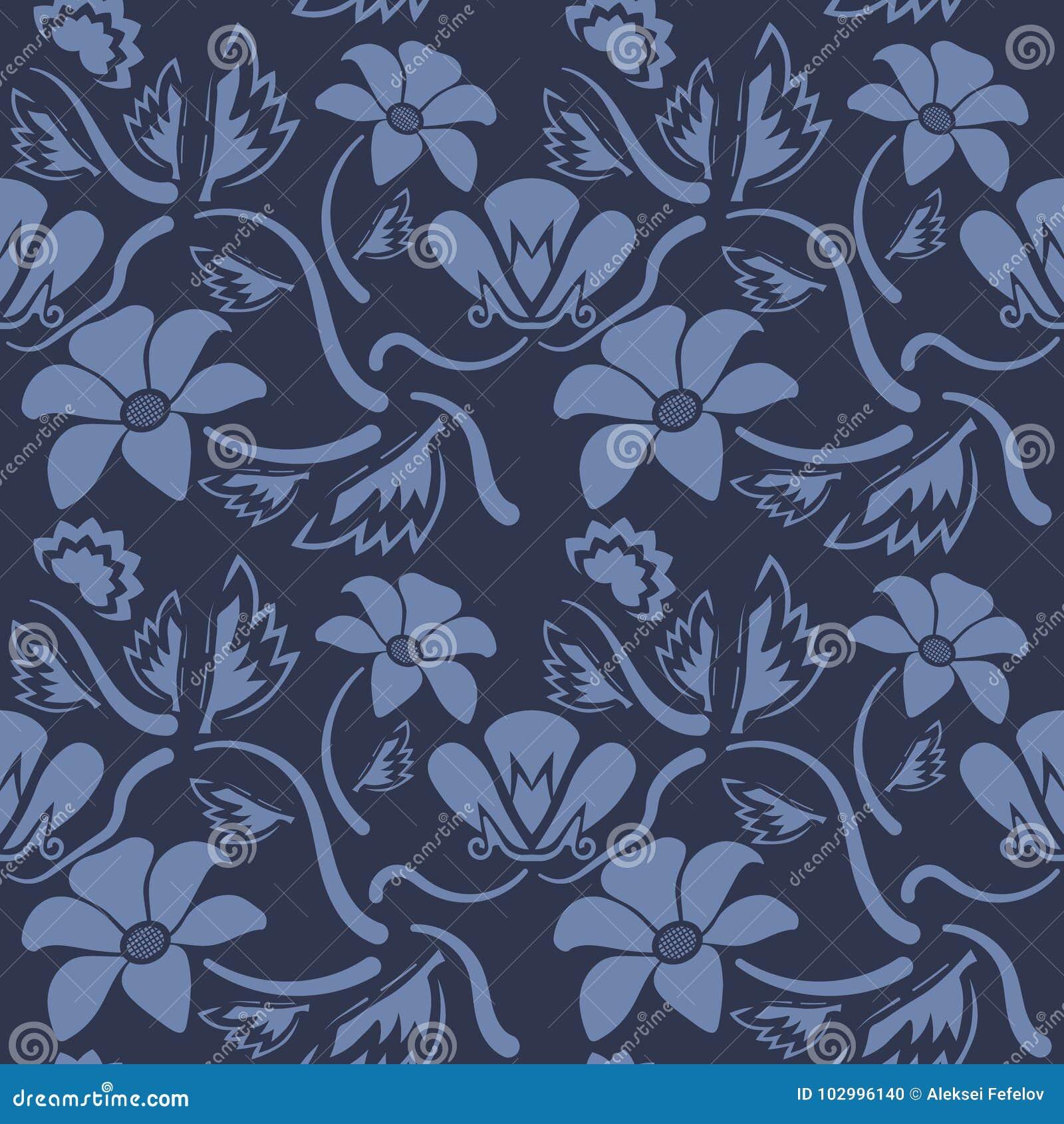 Άνευ ραφής μπλε floral σχέδιο, διάνυσμα Η ατελείωτη σύσταση μπορεί να χρησιμοποιηθεί για την ταπετσαρία, το σχέδιο γεμίζει, υπόβα