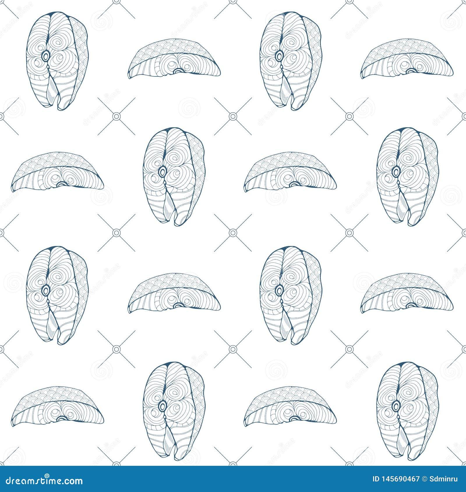 Άνευ ραφής μπριζόλες και χοντρά κομμάτια ψαριών σχεδίων