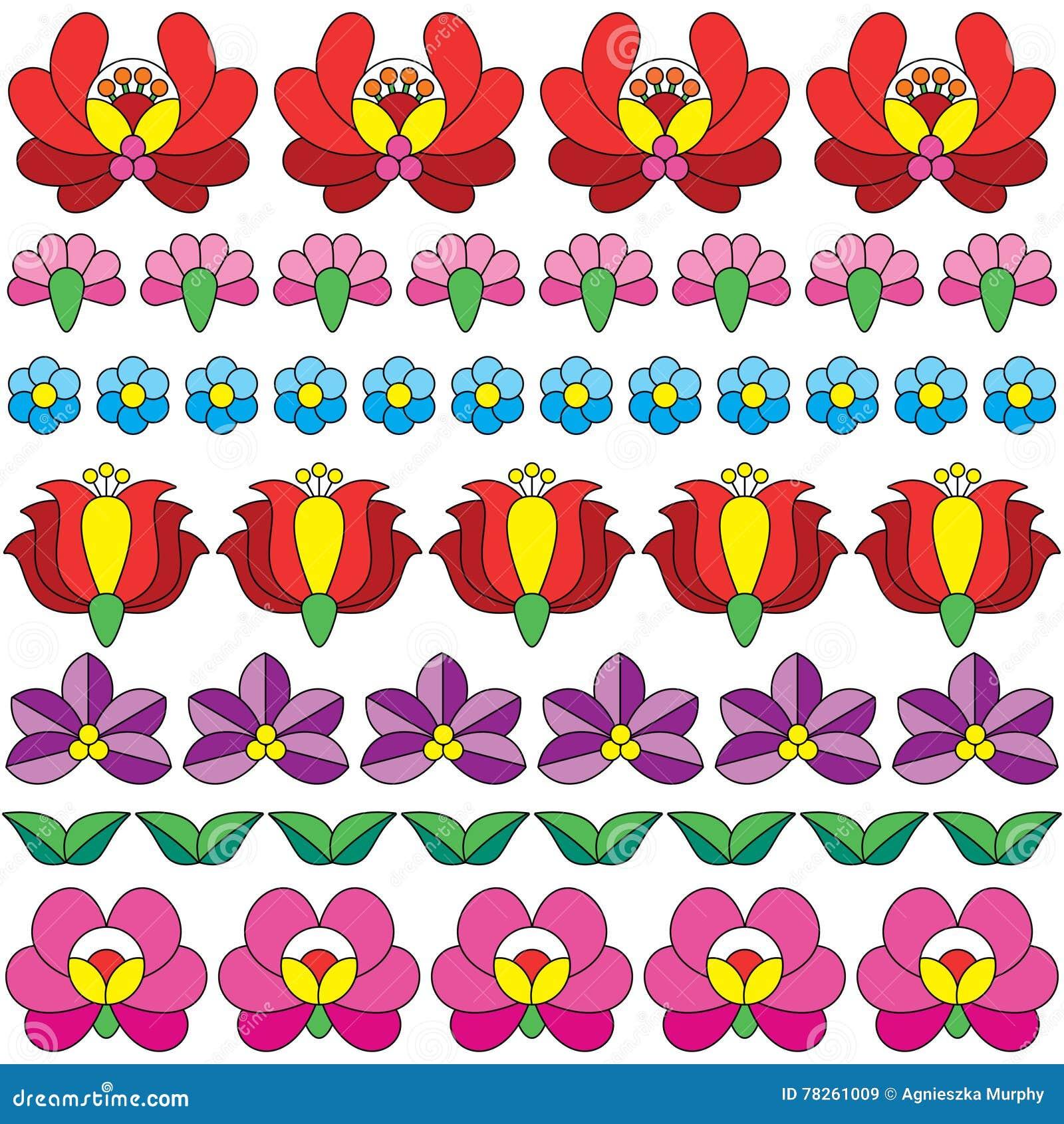 Άνευ ραφής ουγγρικό λαϊκό σχέδιο τέχνης - floral κεντητική Kalocsai