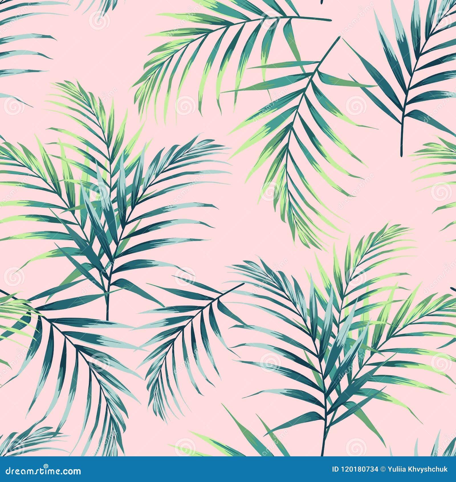 Άνευ ραφής πρότυπο με τα τροπικά φύλλα Σκοτεινά και βεραμάν φύλλα φοινικών στο ανοικτό ροζ υπόβαθρο