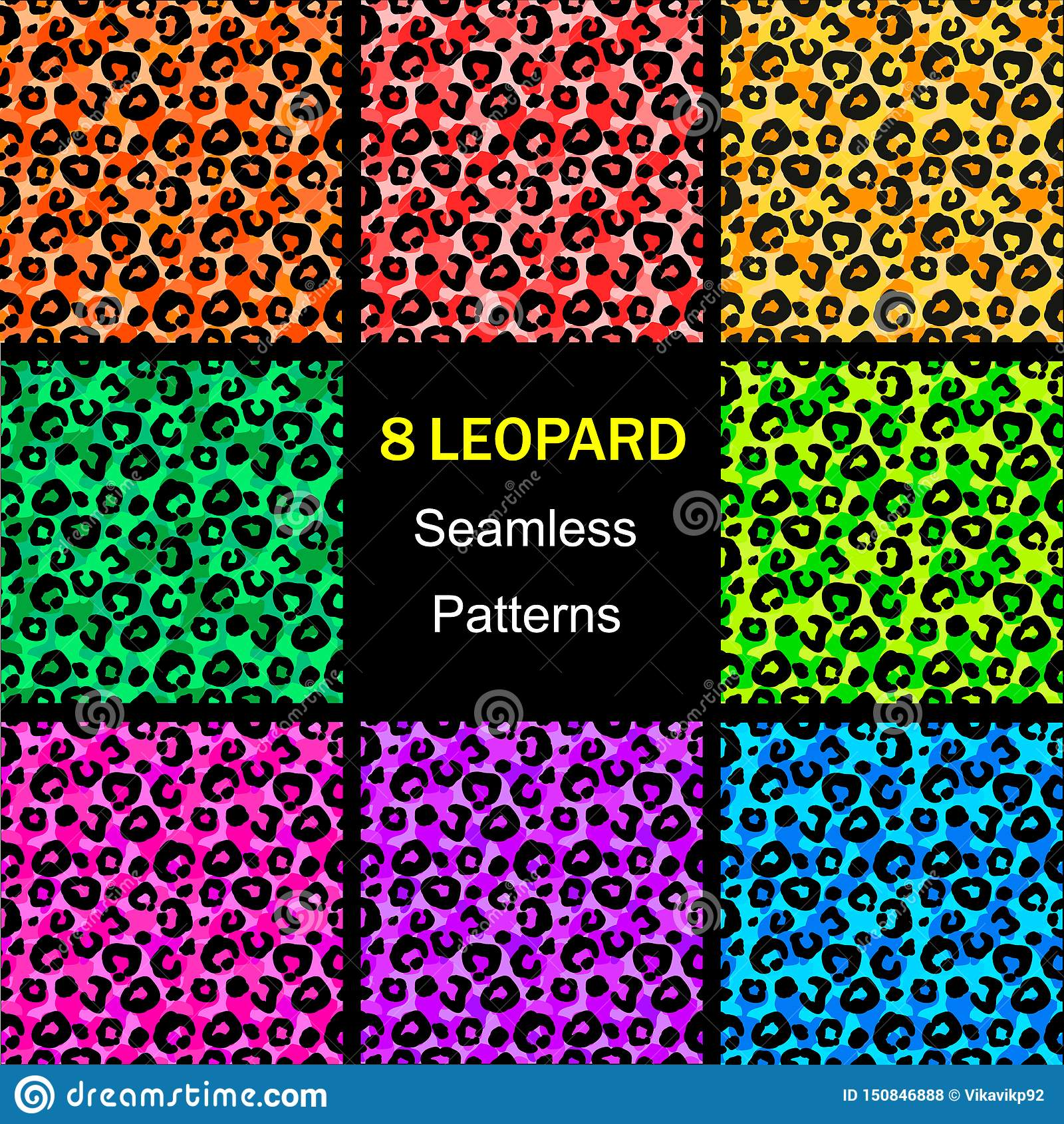 Άνευ ραφής συλλογή σχεδίων λεοπαρδάλεων, ζωηρόχρωμα ατελείωτα υπόβαθρα E r