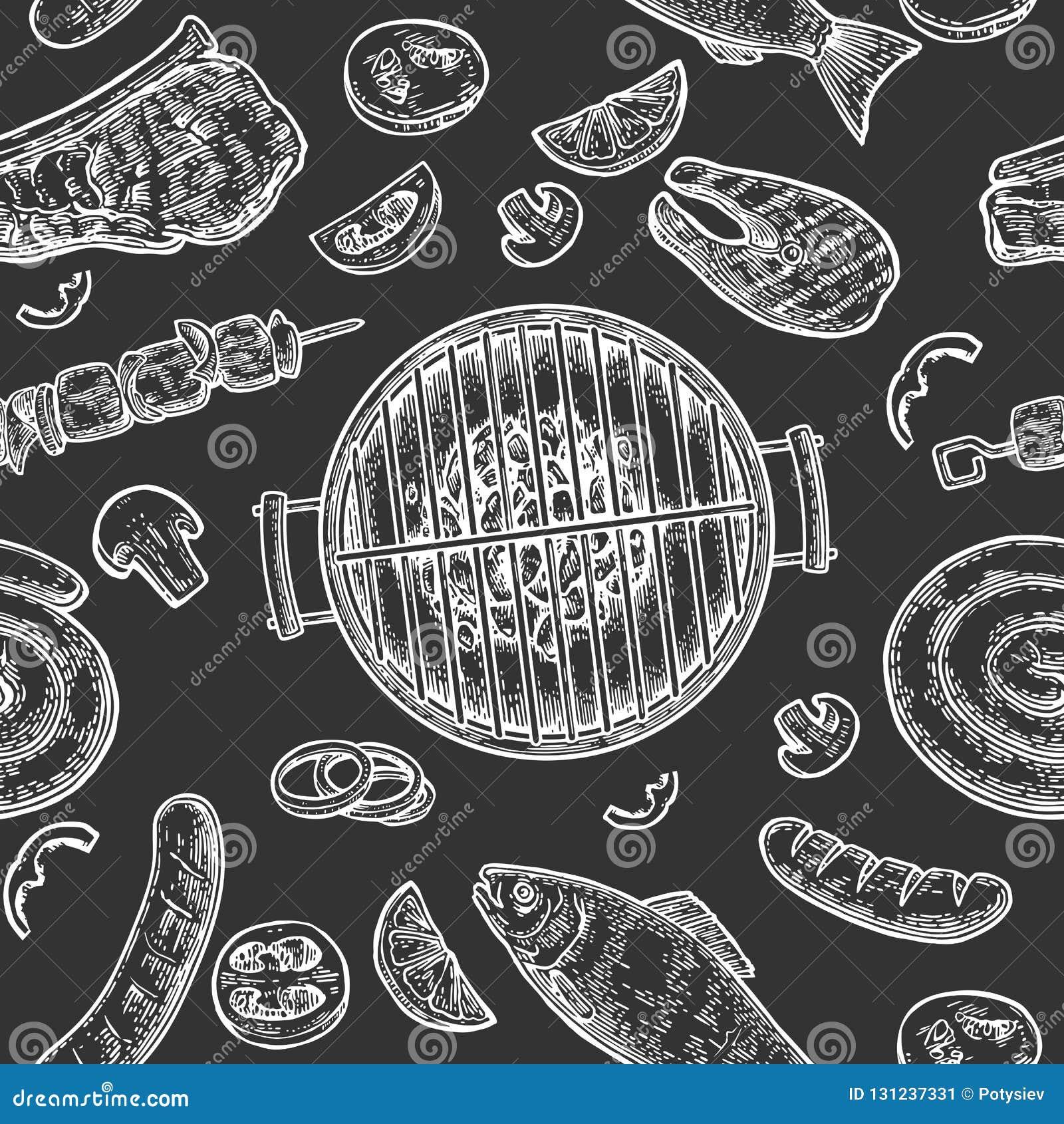 Άνευ ραφής σχάρα σχαρών σχεδίων Τοπ ξυλάνθρακας άποψης, λουκάνικο, ψάρια, μπριζόλα