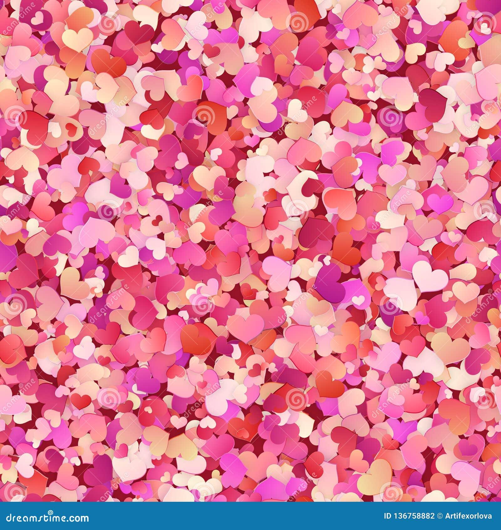 Άνευ ραφής σχέδιο ημέρας βαλεντίνων με το κόκκινο, ροζ, μικρές καρδιές κρητιδογραφιών 10 eps