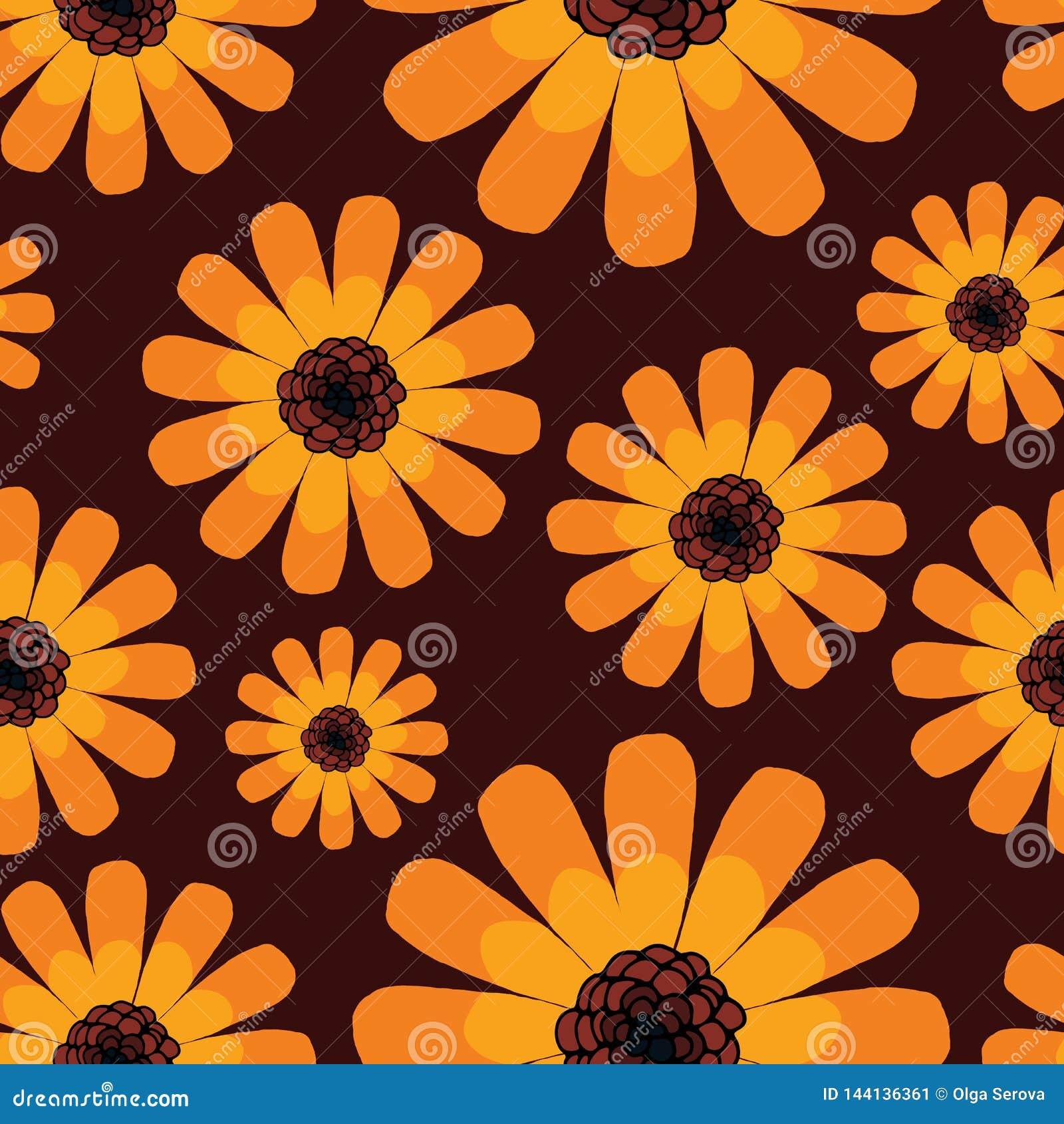 Άνευ ραφής σχέδιο θερινού πορτοκαλί calendula