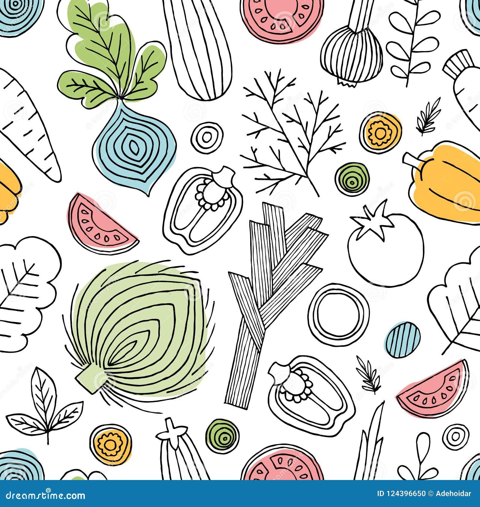 Άνευ ραφής σχέδιο λαχανικών διασκέδασης Γραμμικός γραφικός Ανασκόπηση λαχανικών Σκανδιναβικό ύφος τρόφιμα υγιή επίσης corel σύρετ