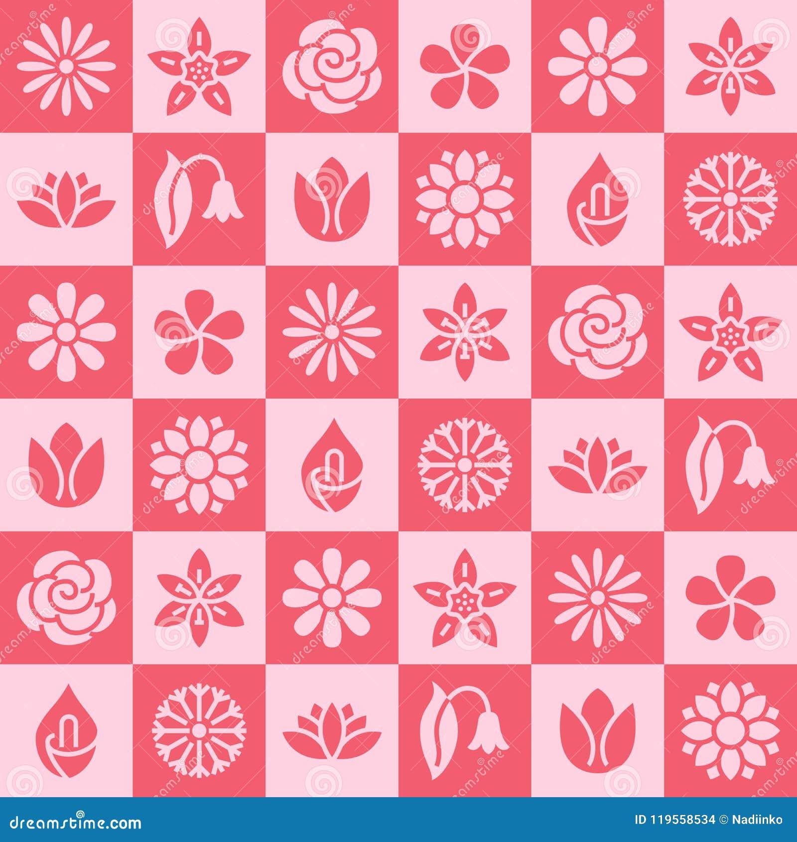 Άνευ ραφής σχέδιο λουλουδιών με τα επίπεδα εικονίδια glyph Οι Floral εγκαταστάσεις κήπων υποβάθρου όμορφες chamomile, ηλίανθος, α