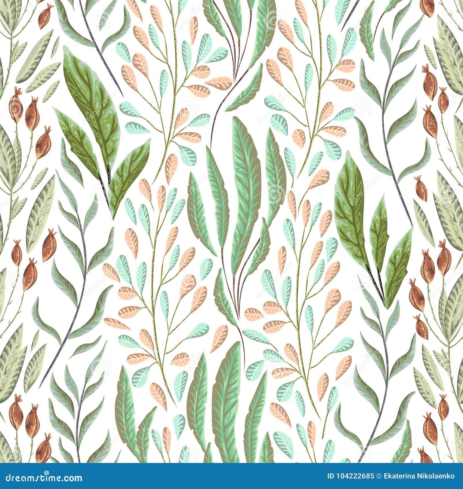 Άνευ ραφής σχέδιο με τα θαλάσσια φυτά, τα φύλλα και το φύκι Συρμένη χέρι θαλάσσια χλωρίδα στο ύφος watercolor