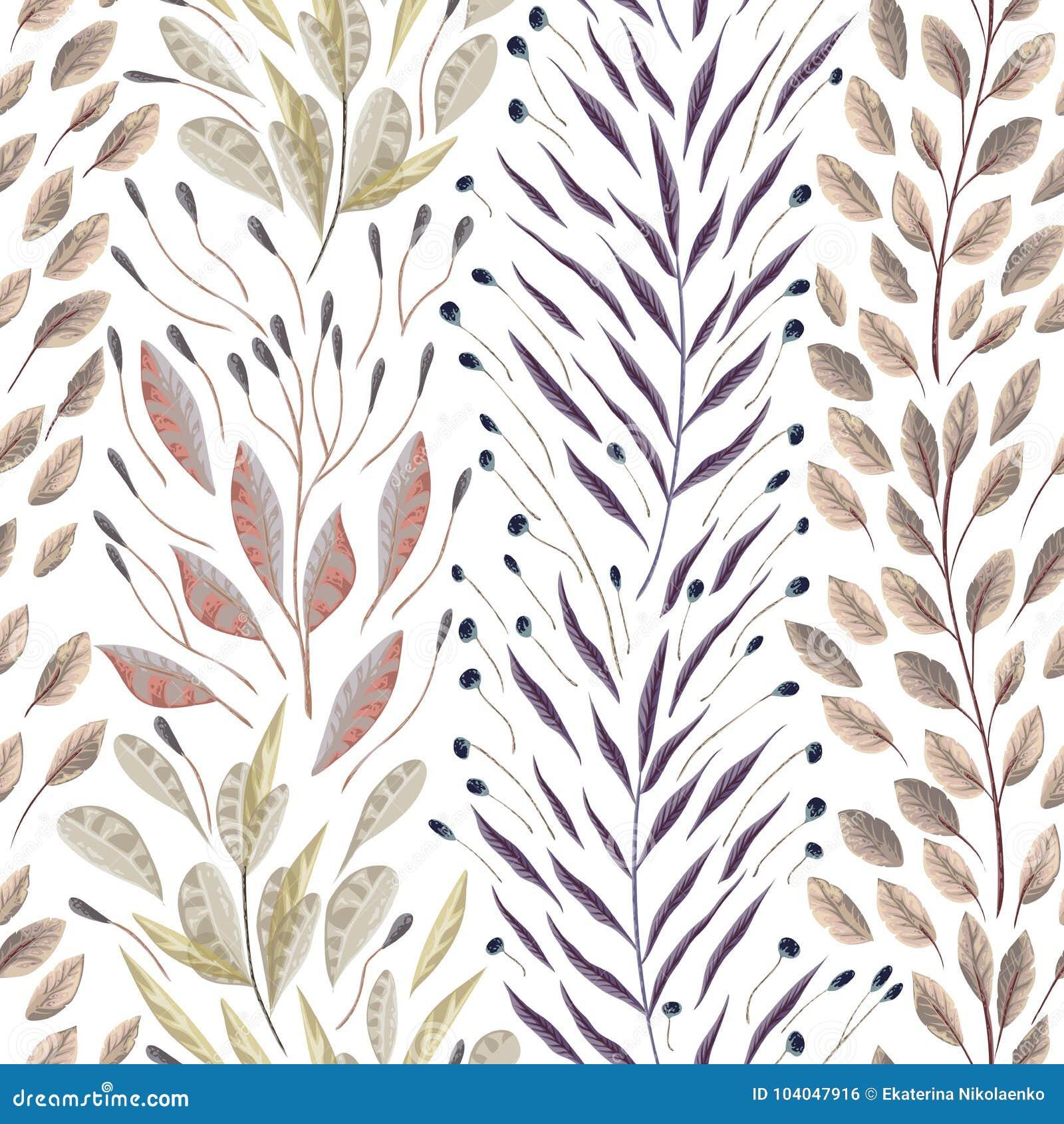 Άνευ ραφής σχέδιο με τα θαλάσσια φυτά, τα φύλλα και το φύκι