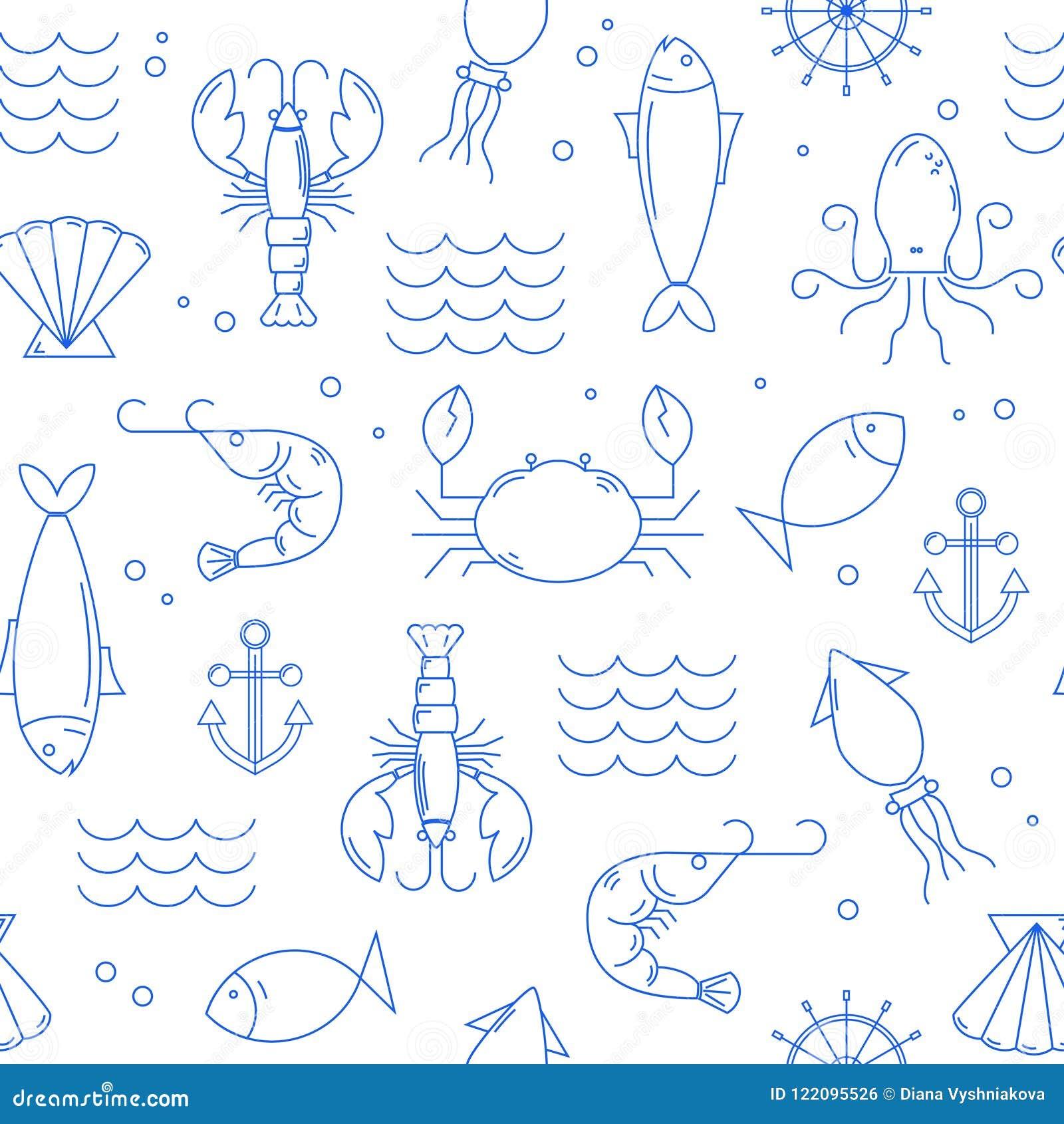 Άνευ ραφής σχέδιο με τα θαλασσινά