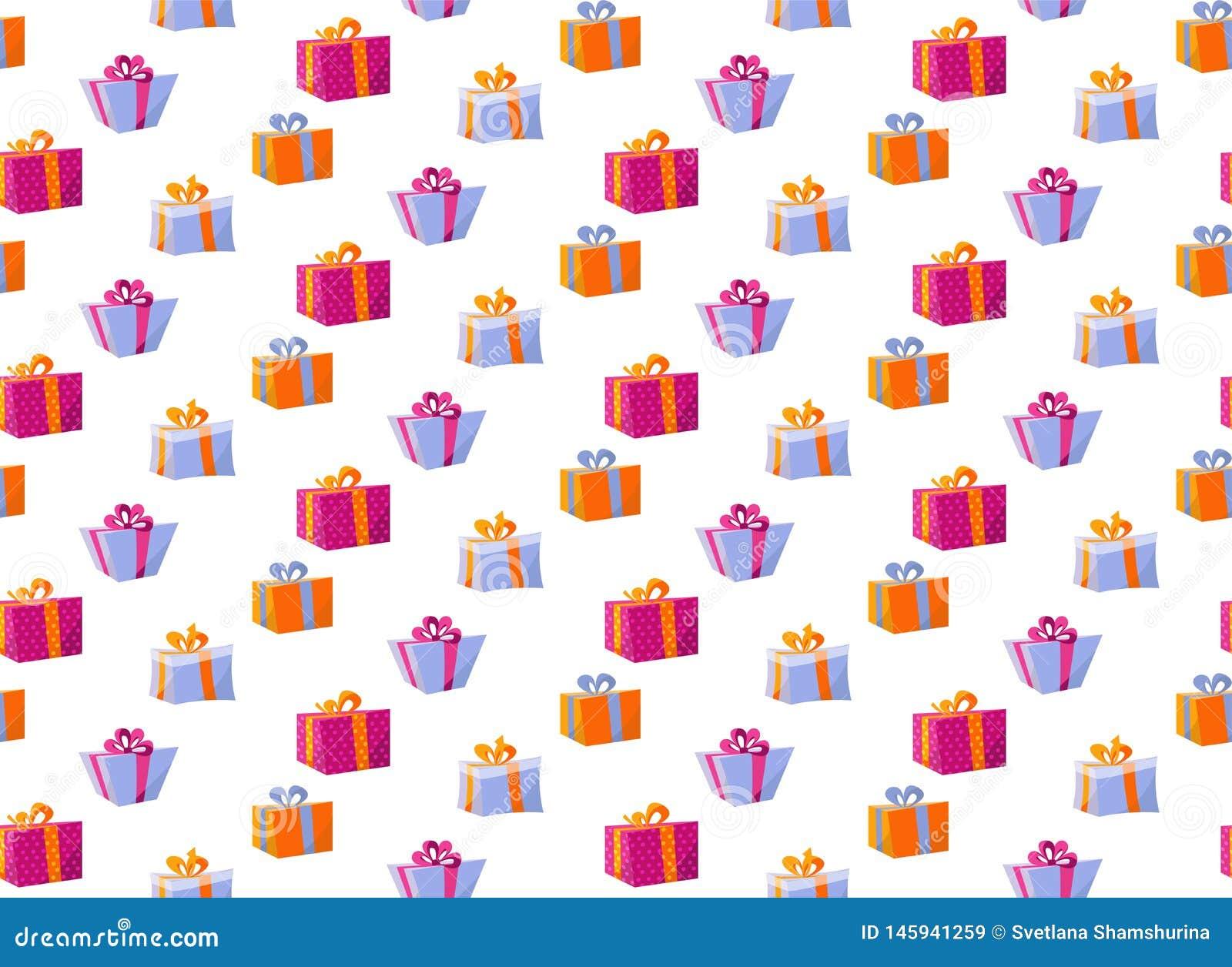 Άνευ ραφής σχέδιο με τα κιβώτια δώρων Κιβώτιο δώρων σχεδίων για την τυπωμένη ύλη υφάσματος, μεγάλο σύνολο εγγράφου κιβωτίων δώρων
