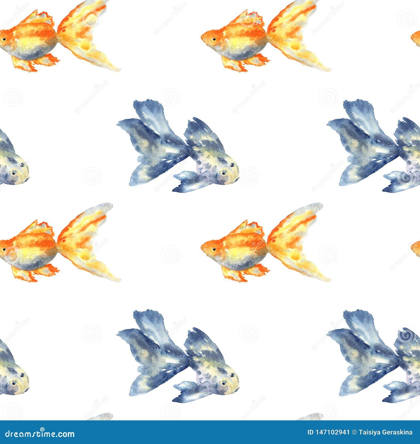 Άνευ ραφής σχέδιο με τα μπλε ψάρια με το μεγάλο πτερύγιο και goldfish E Σύσταση για την τυπωμένη ύλη, ύφασμα, κλωστοϋφαντουργικό