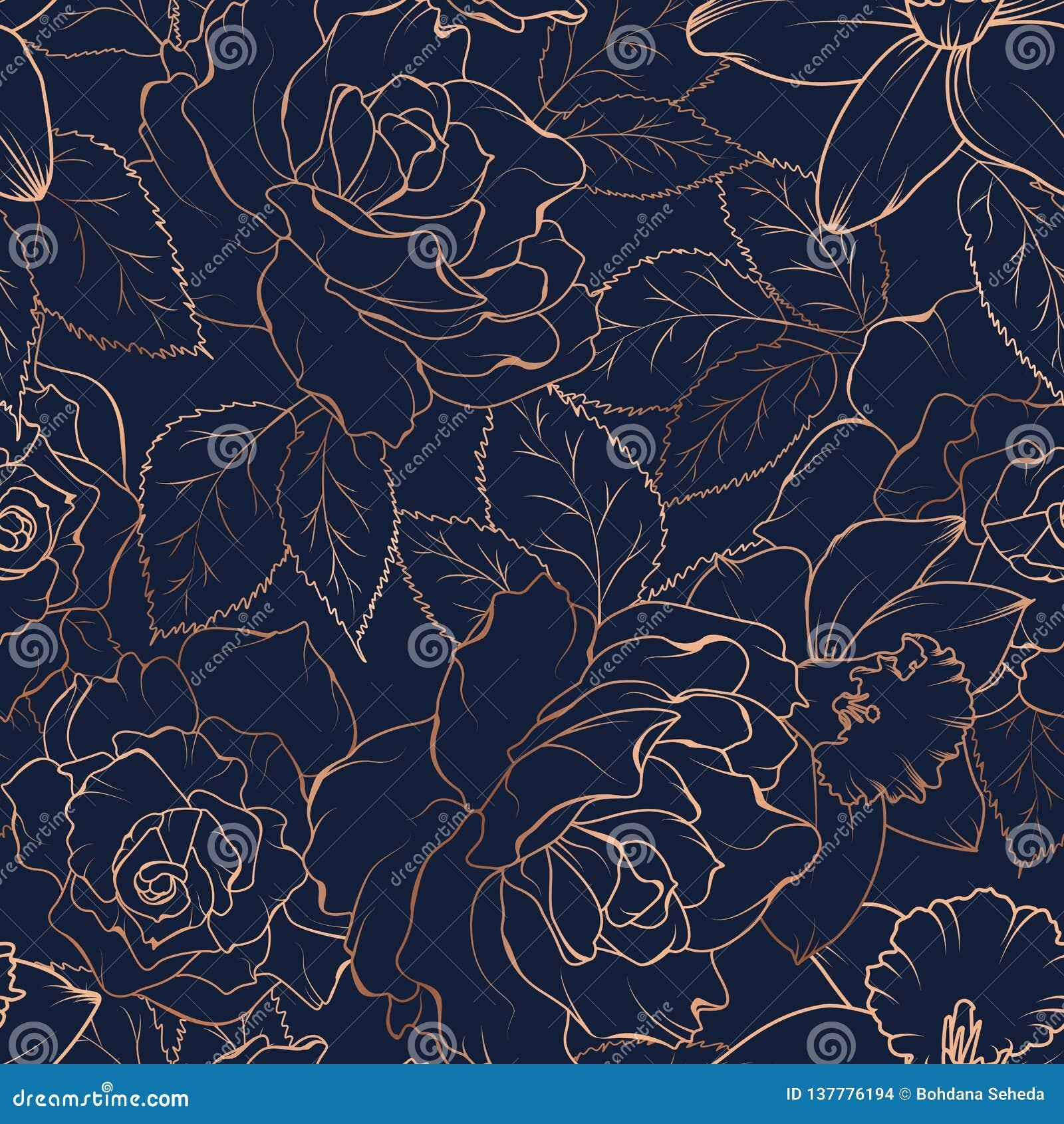 Άνευ ραφής σχέδιο με τα τριαντάφυλλα και daffodils στο σκοτάδι επίσης corel σύρετε το διάνυσμα απεικόνισης