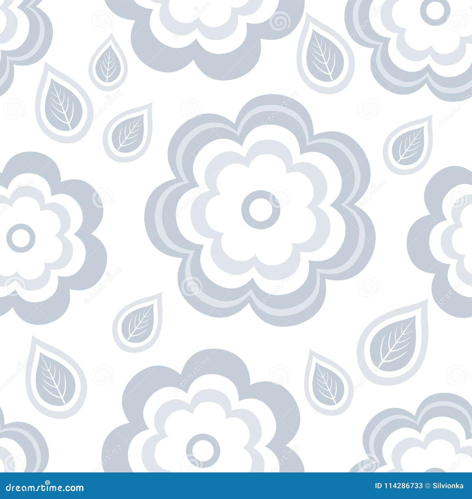Άνευ ραφής σχέδιο με τα τυποποιημένα γκρίζα λουλούδια και τα φύλλα
