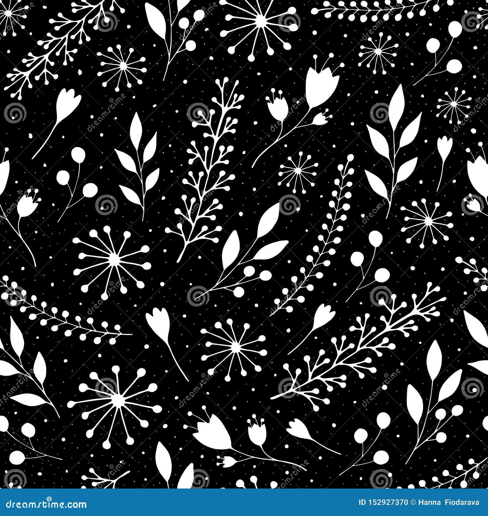 Άνευ ραφής σχέδιο με τα χαριτωμένα λουλούδια και τα κλαδάκια σε ένα μαύρο υπόβαθρο