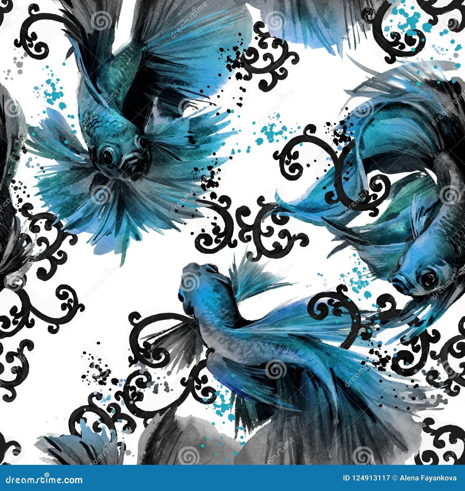 Άνευ ραφής σχέδιο με τα ψάρια betta ασιατική απεικόνιση φύσης watercolor