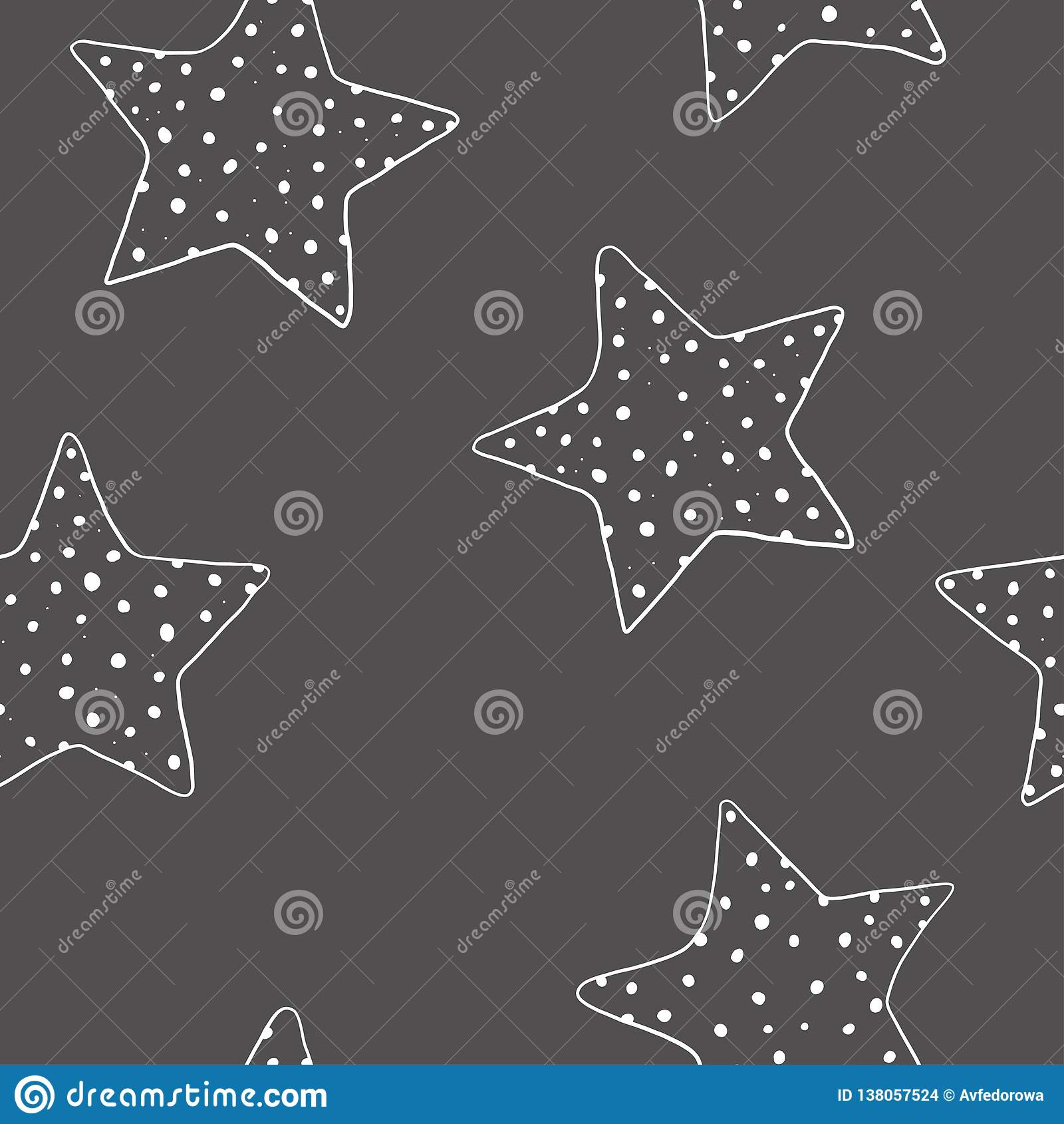 Άνευ ραφής σχέδιο με τα hand-drawn αστέρια Πέντε-δειγμένα αστέρια σε ένα σκοτεινό υπόβαθρο Διανυσματική απεικόνιση στο ύφος σκίτσ